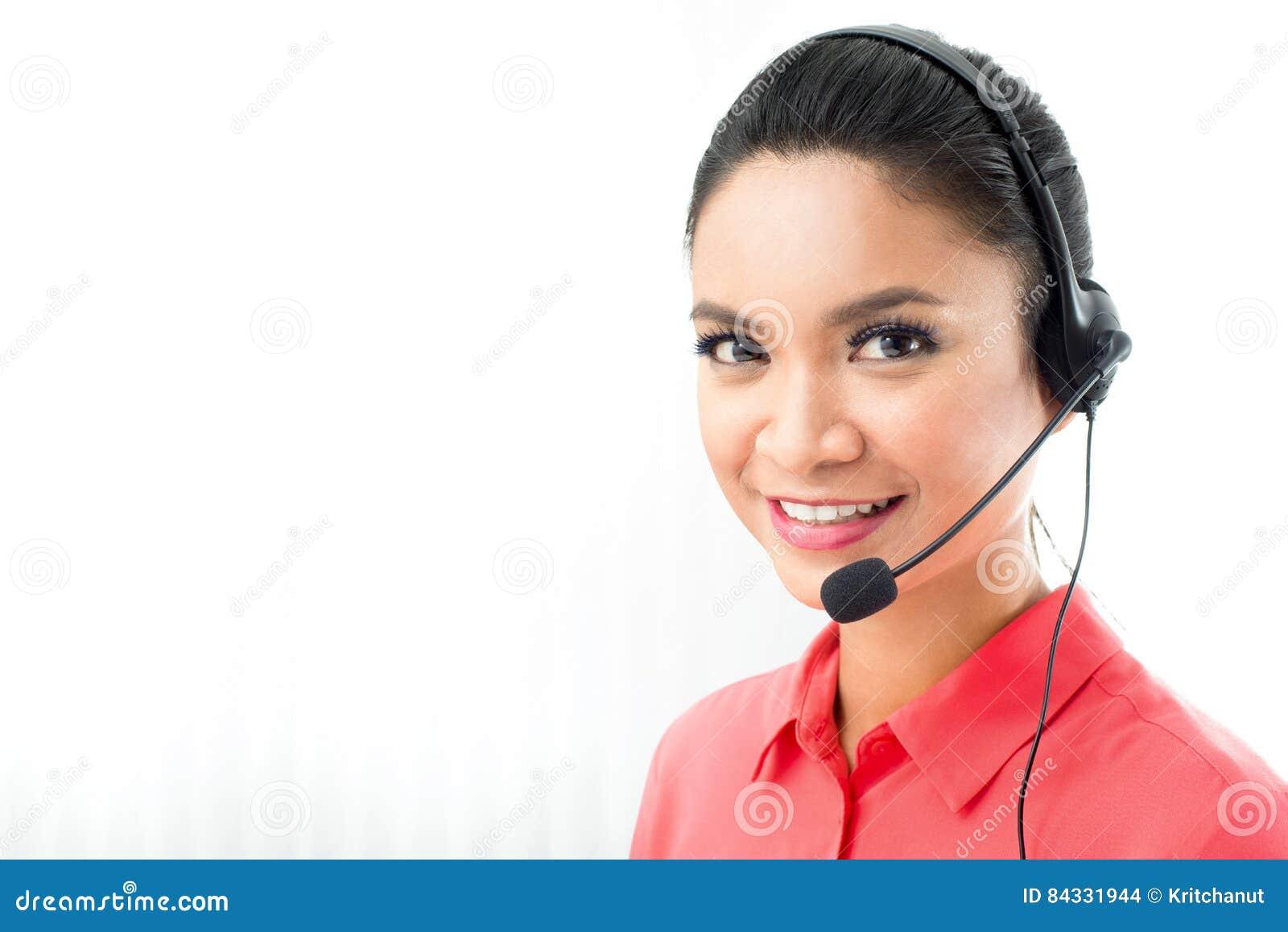 Kobieta Jest Ubranym Mikrofon Słuchawki Jako Centrum