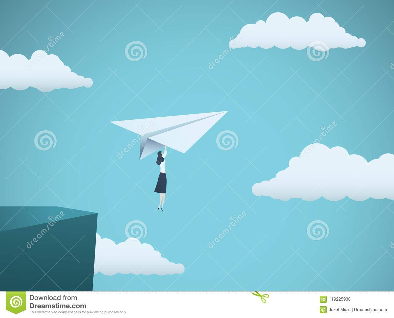 Kobieta lider w biznesowym wektorowym pojęciu Bizneswomanu latanie na papieru samolocie z falezy jako symbol kobiety władza