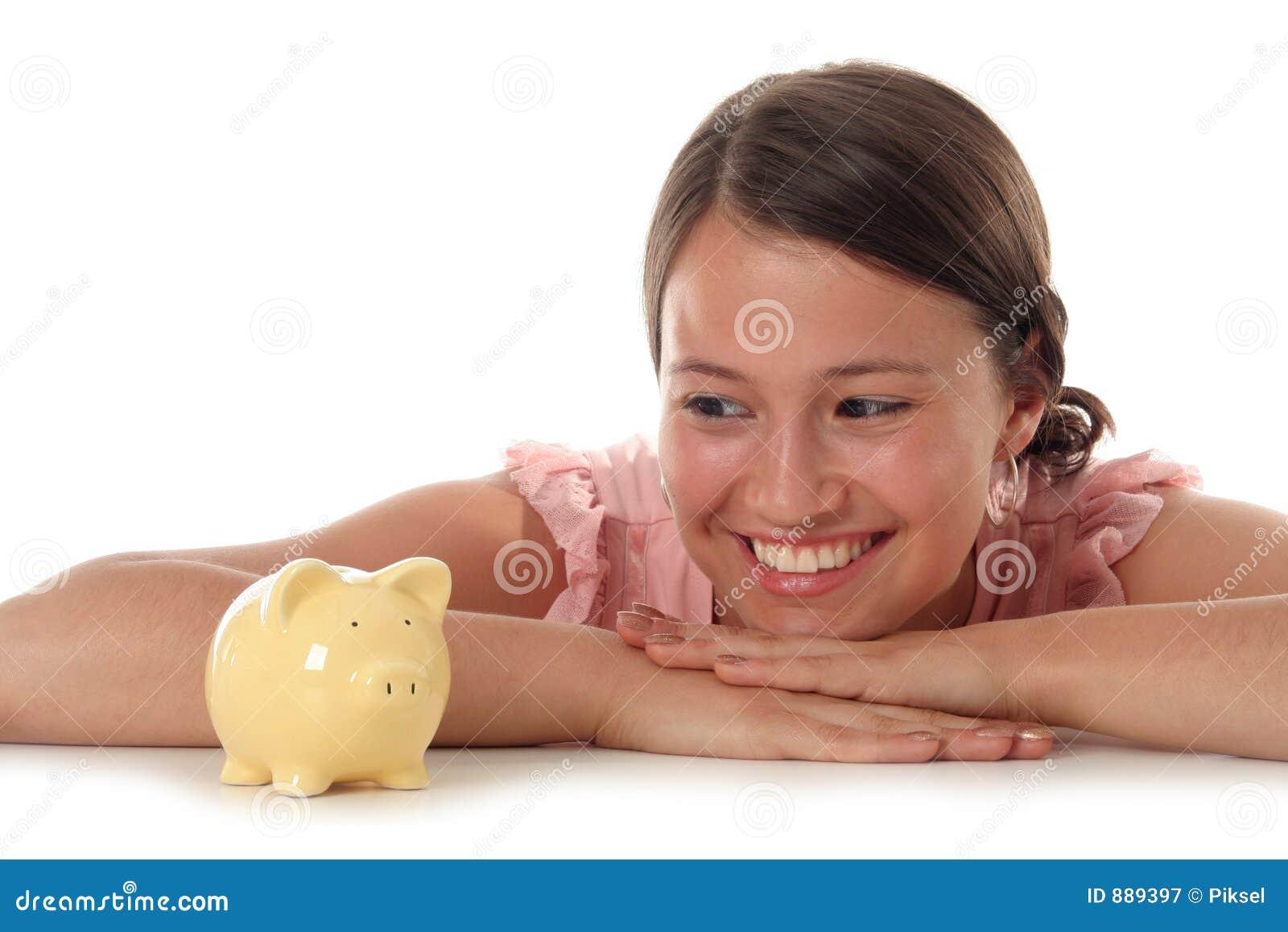 Kobieta na bank świnki