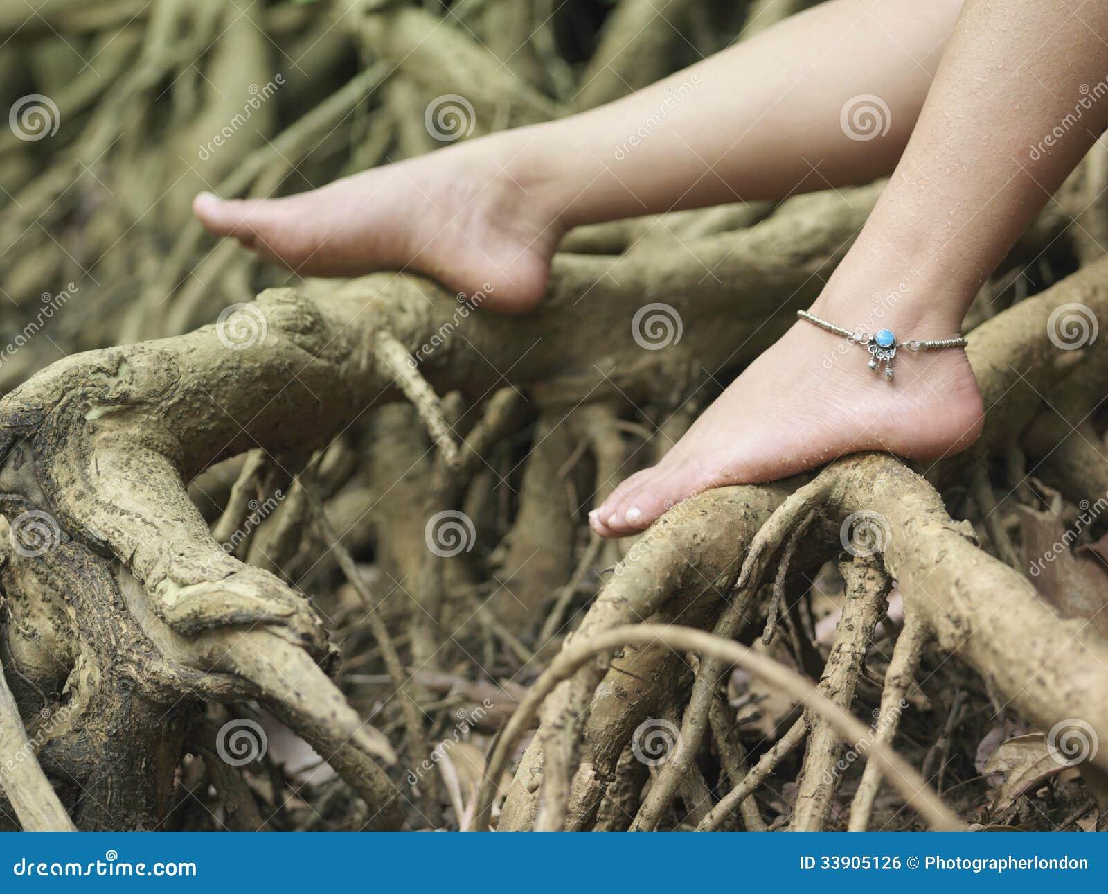 Kobieta Nadzy cieki Na korzeniach