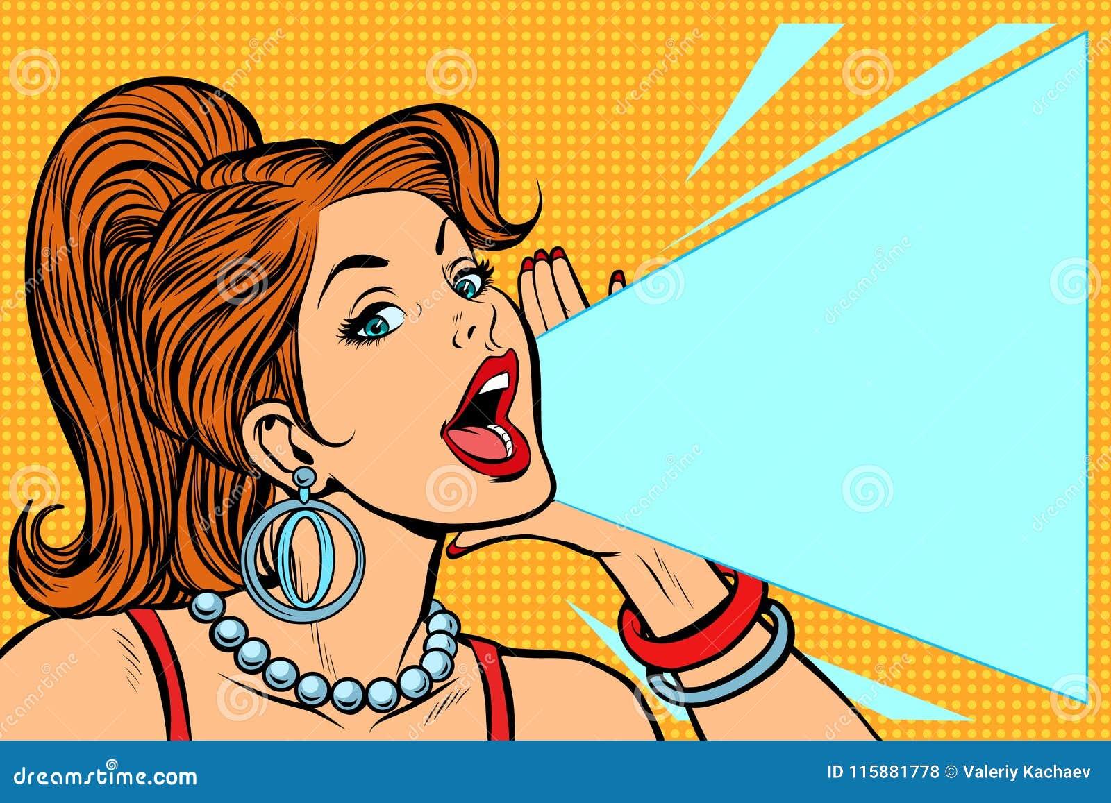 Kobieta ogłasza rabat Dama krzyków protesty