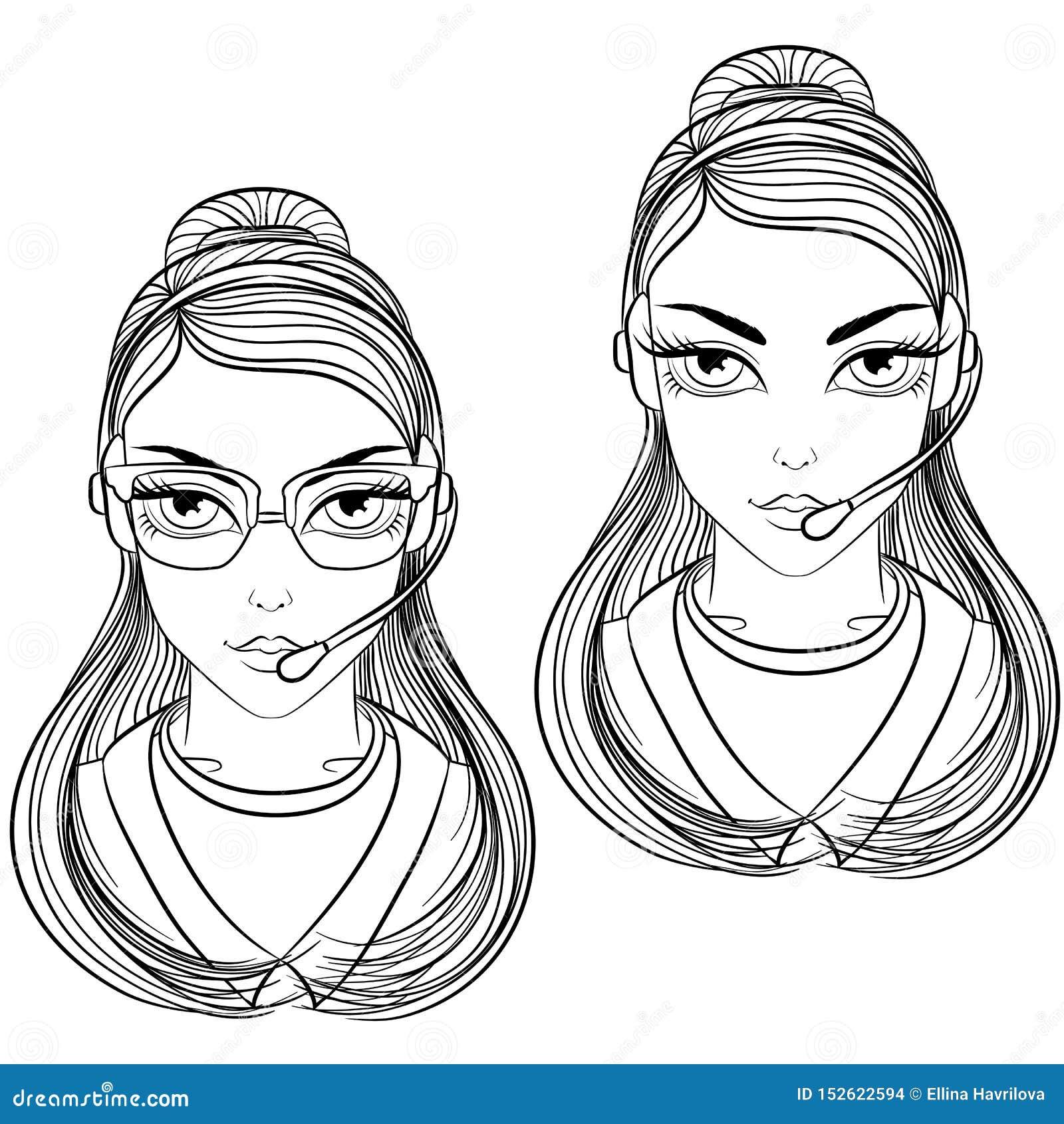 Kobieta operatora kreskowa sztuka