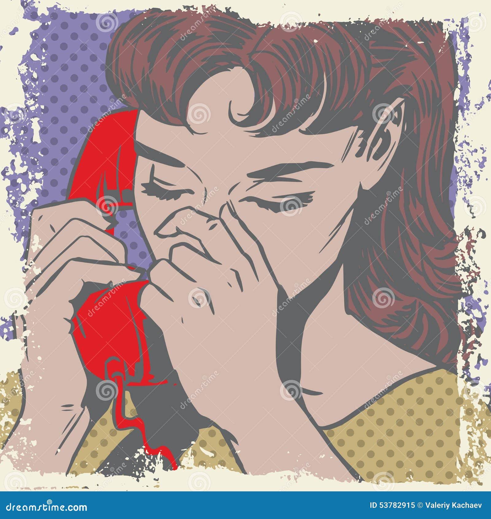 Kobieta opowiada na telefonu wystrzału sztuki smutnych komiczkach