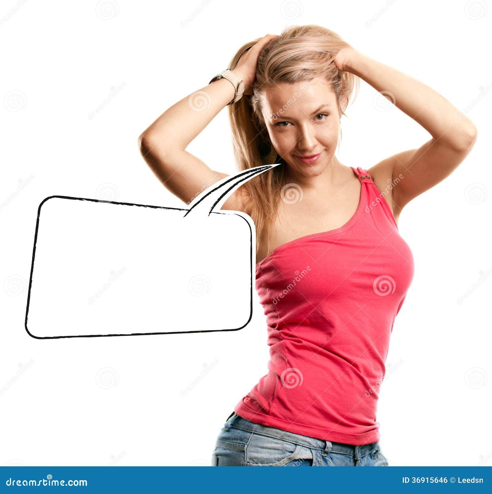 Kobieta Patrzeje na kamerze Z mowa bąblem