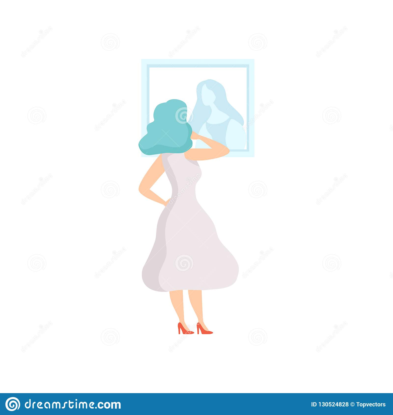 Kobieta patrzeje obrazu obwieszenie na ścianie w biel sukni, żeński powystawowy gość przegląda muzealnego eksponat przy