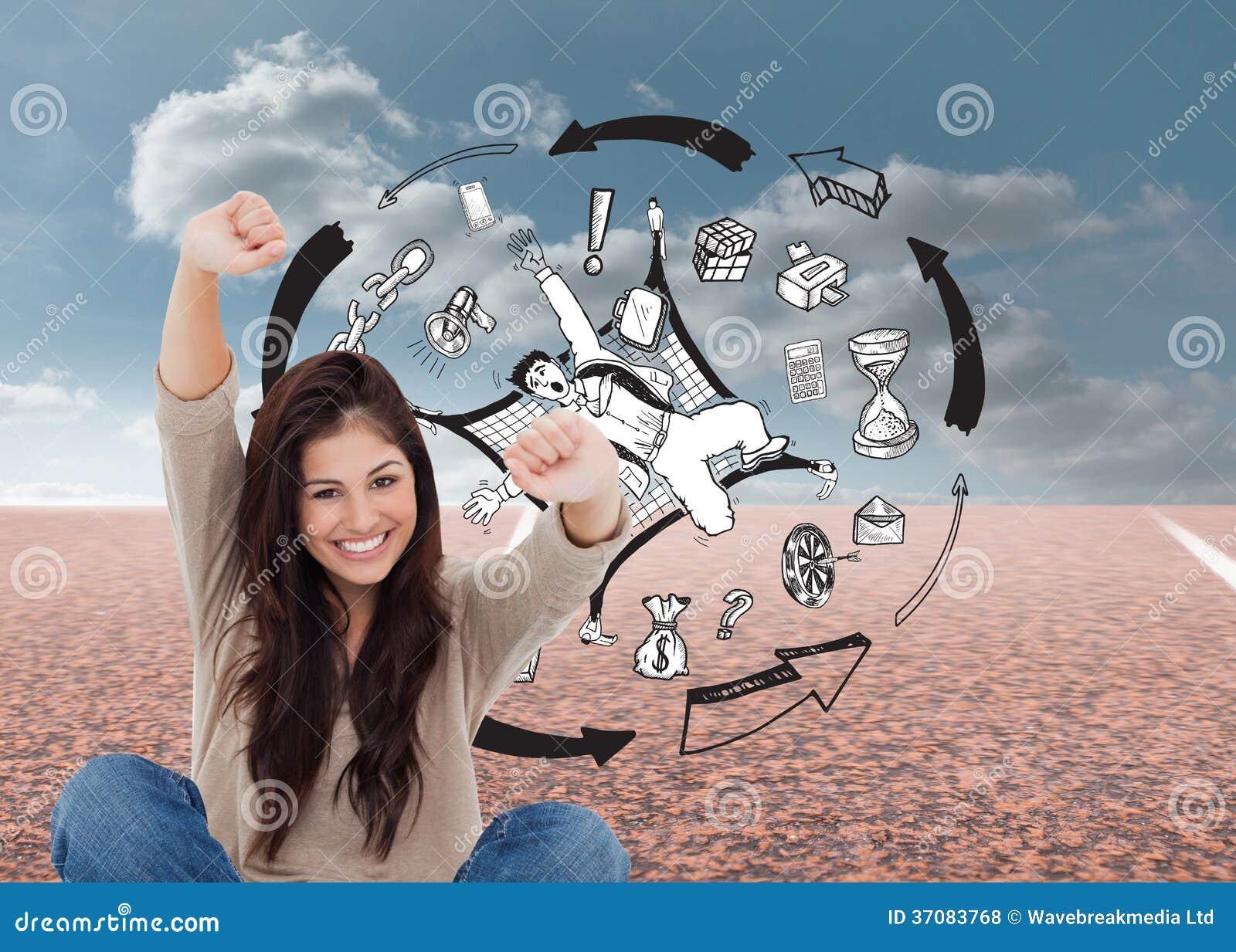 Download Kobieta Patrzeje Prosto Naprzód Gdy świętuje Przed Jej Laptopem Zdjęcie Stock - Obraz złożonej z błękitny, sunlight: 37083768