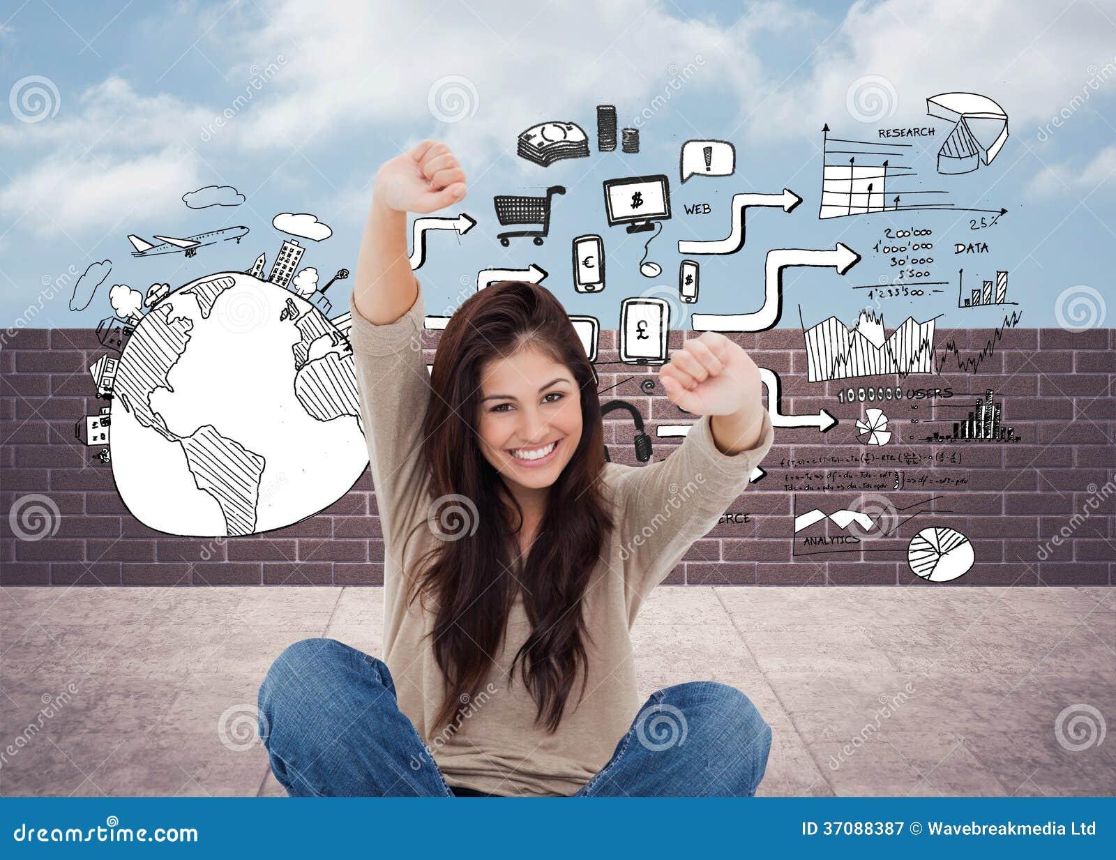 Download Kobieta Patrzeje Prosto Naprzód Gdy świętuje Przed Jej Laptopem Obraz Stock - Obraz złożonej z pieniądze, strategia: 37088387