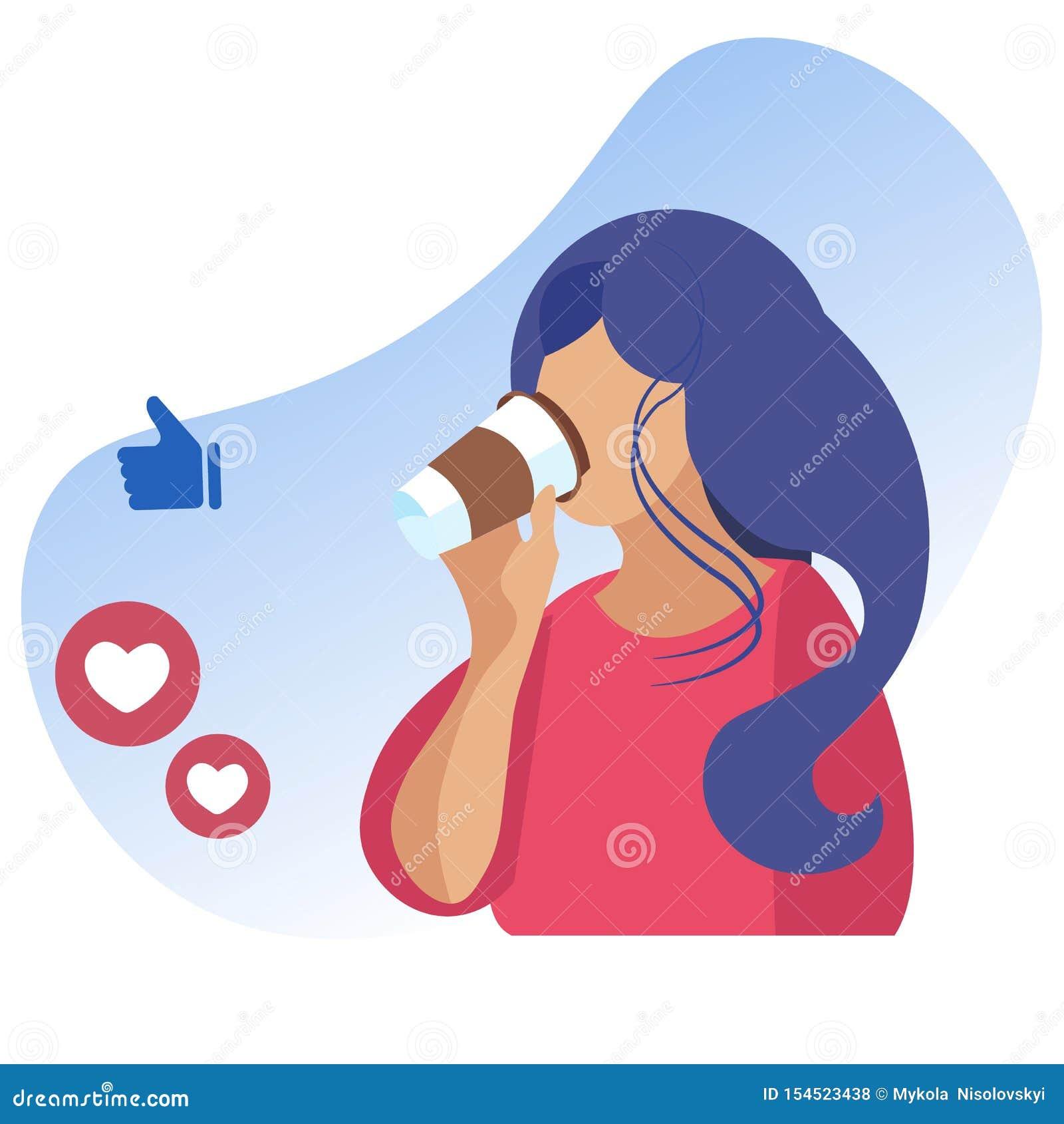 Kobieta Pije Takeaway kawy i socjalny sieć