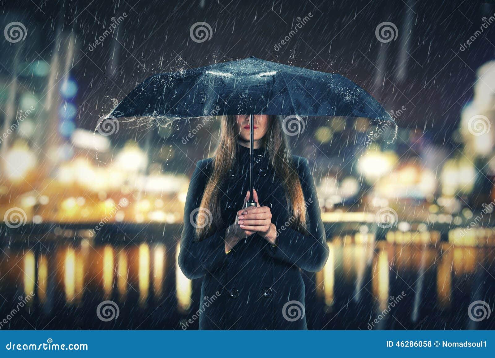 Kobieta pod deszczem z czarnym parasolem
