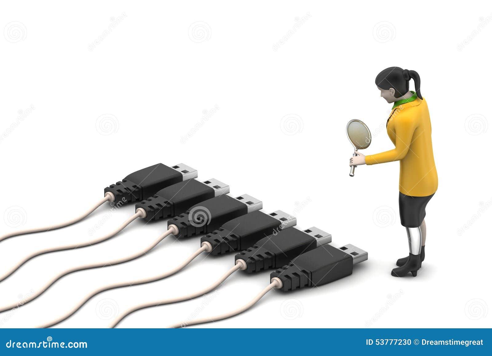 Kobieta przyglądający złączony kabel