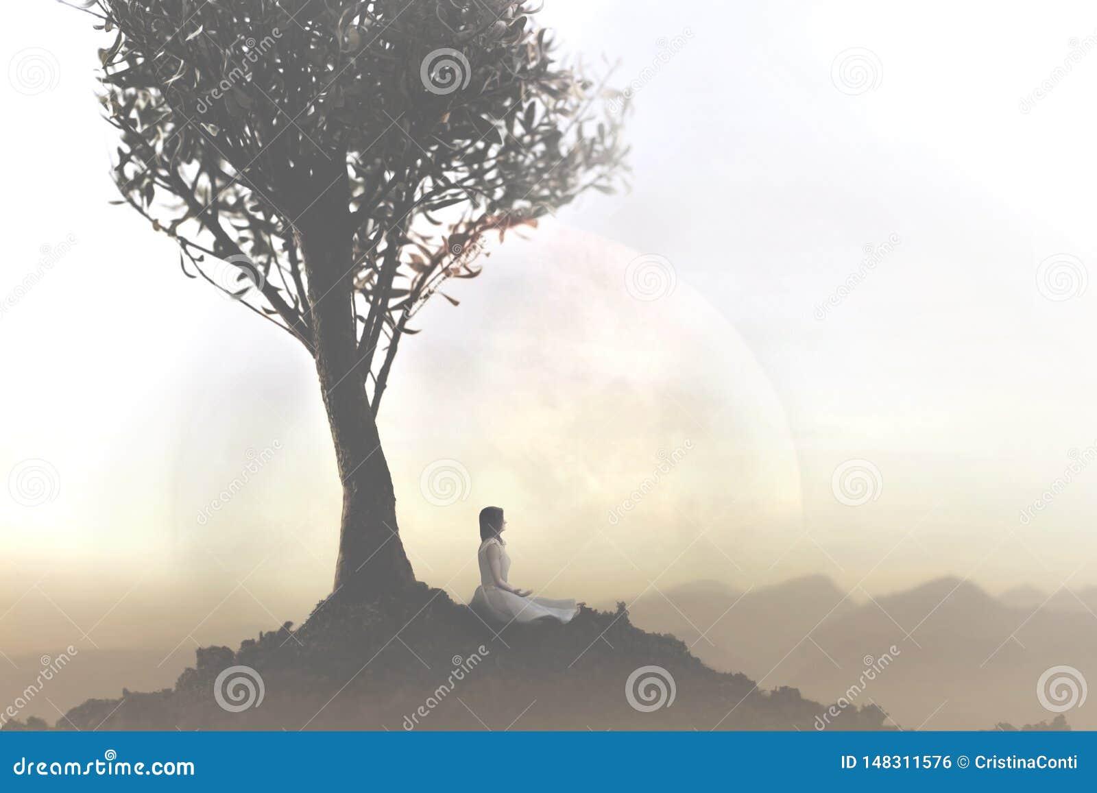 Kobieta relaksuje robić joga pod drzewem