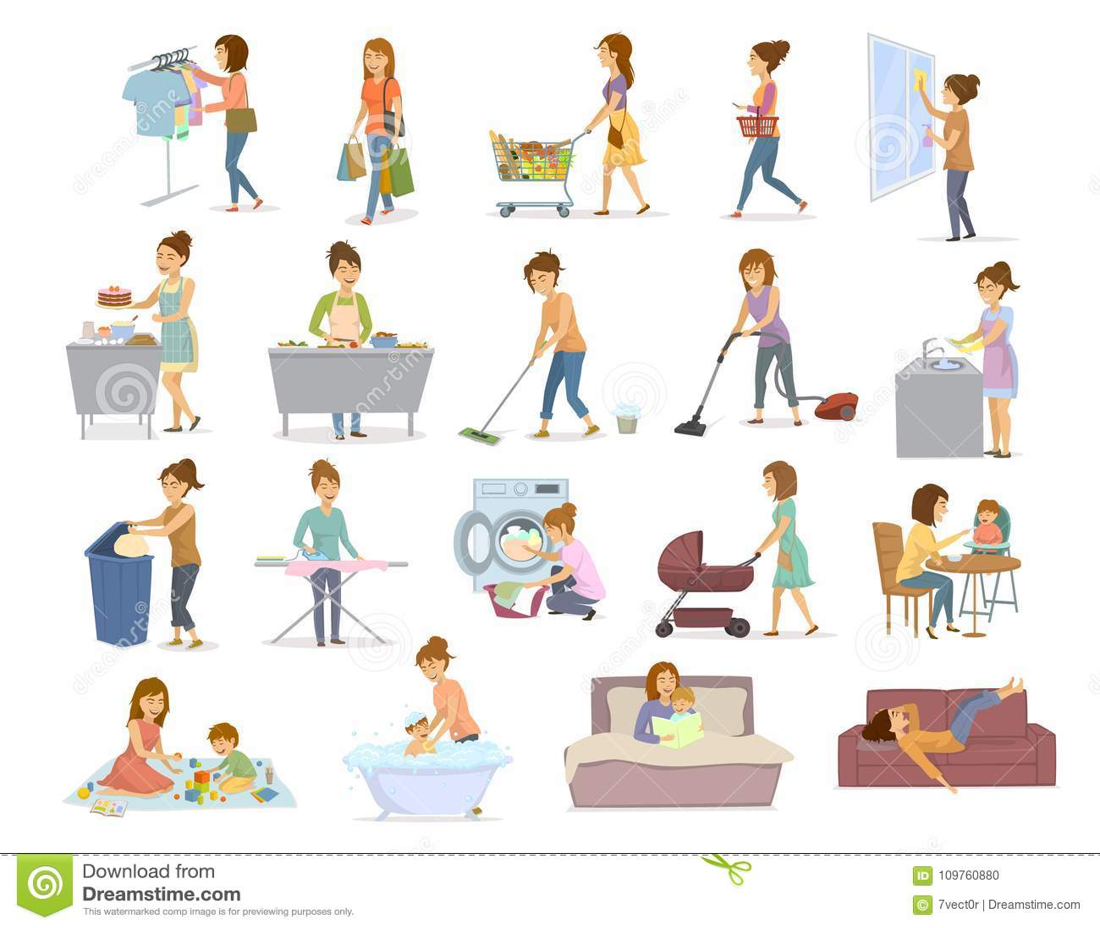Kobieta robi dzienników domowym obowiązek domowy, housekeeping, househod aktywność jak płuczkowy próżniowy cleaning zakupy kuchar