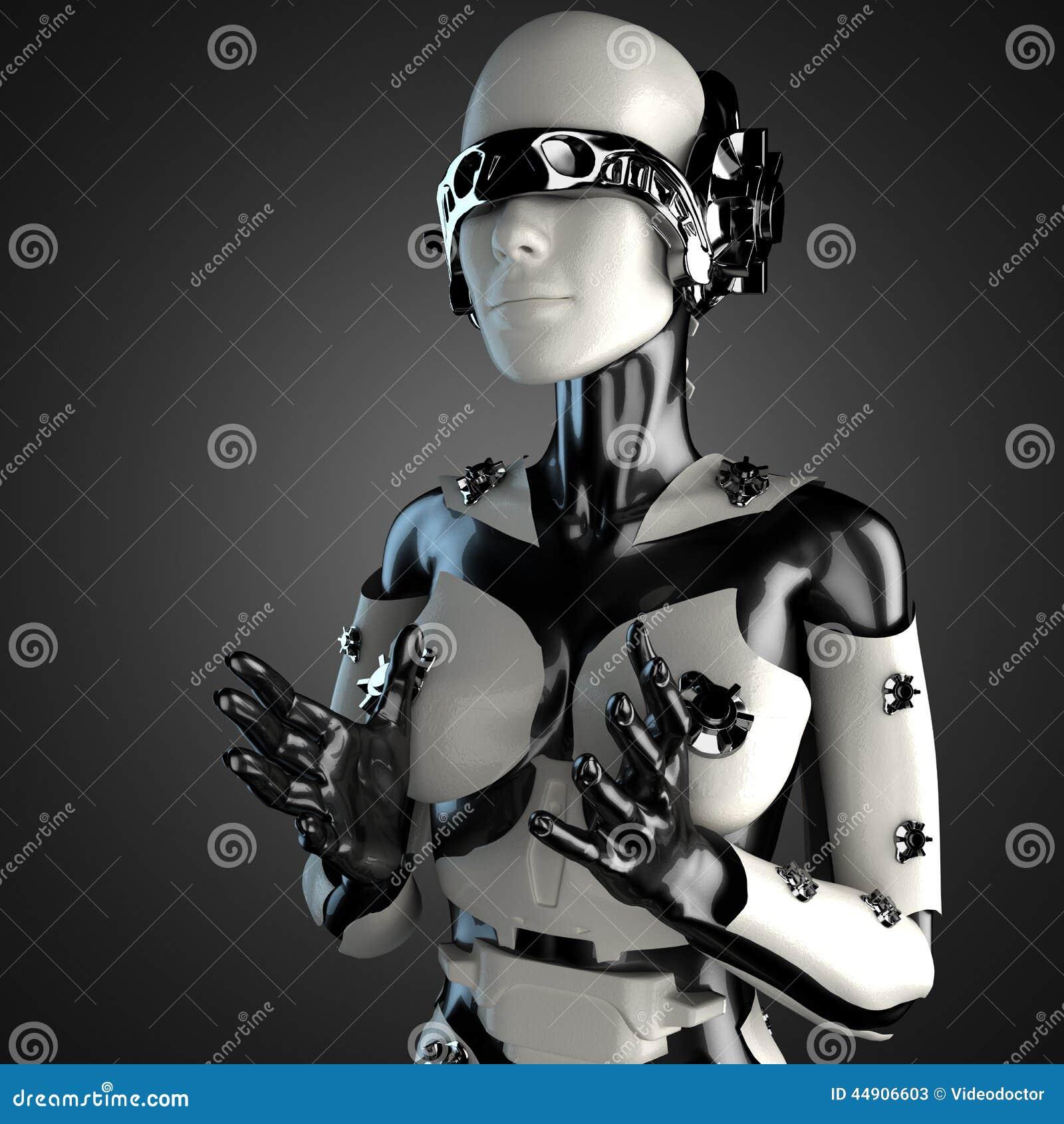 Kobieta robot stal i biały klingeryt