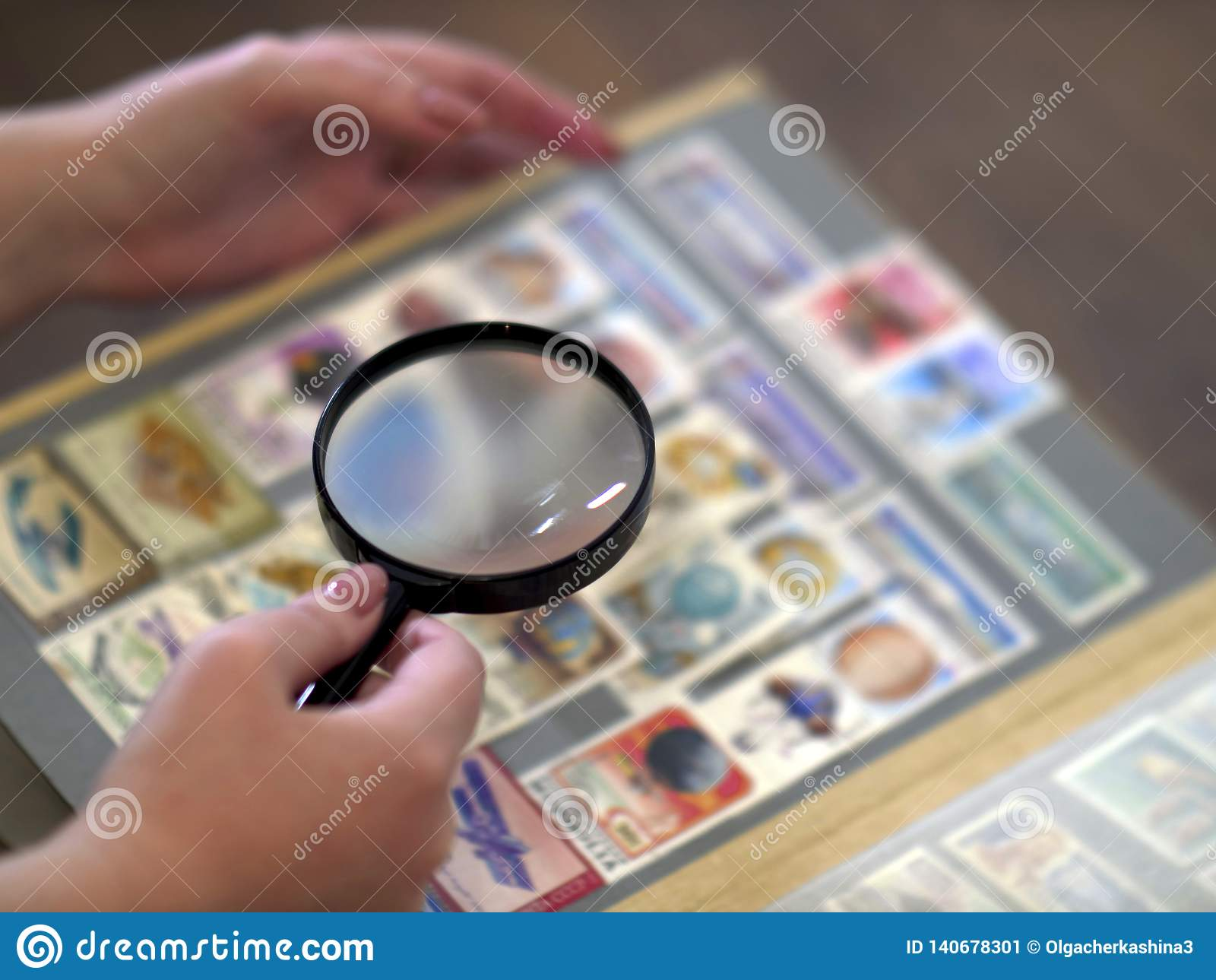Kobieta rozważa przez magnifier albumowych ocen