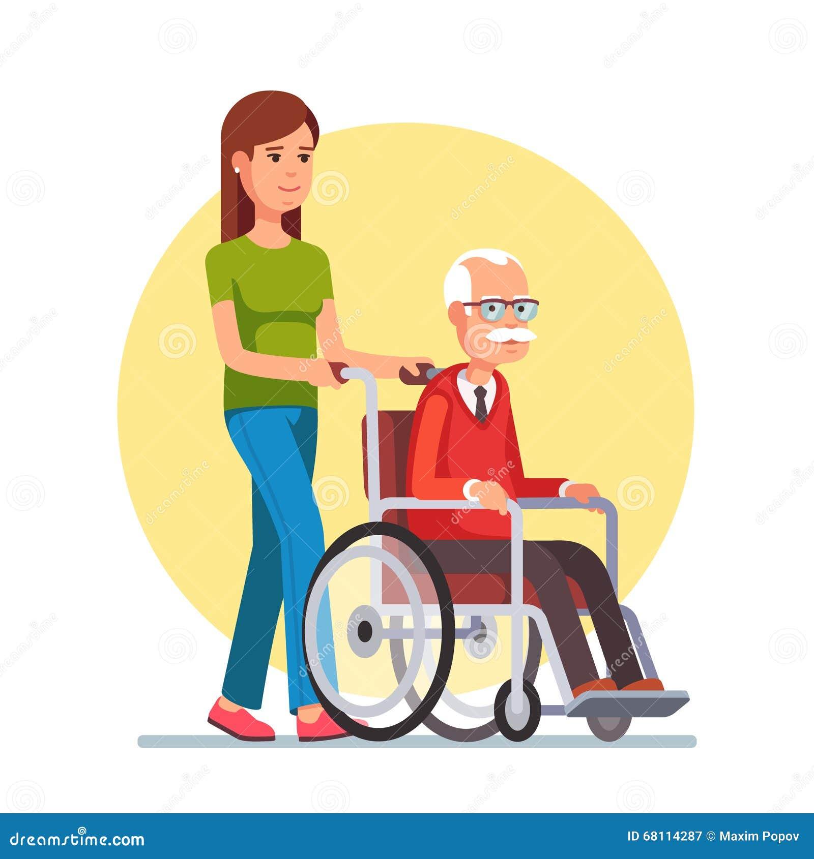 Kobieta spaceruje z starym mężczyzna w wózku inwalidzkim