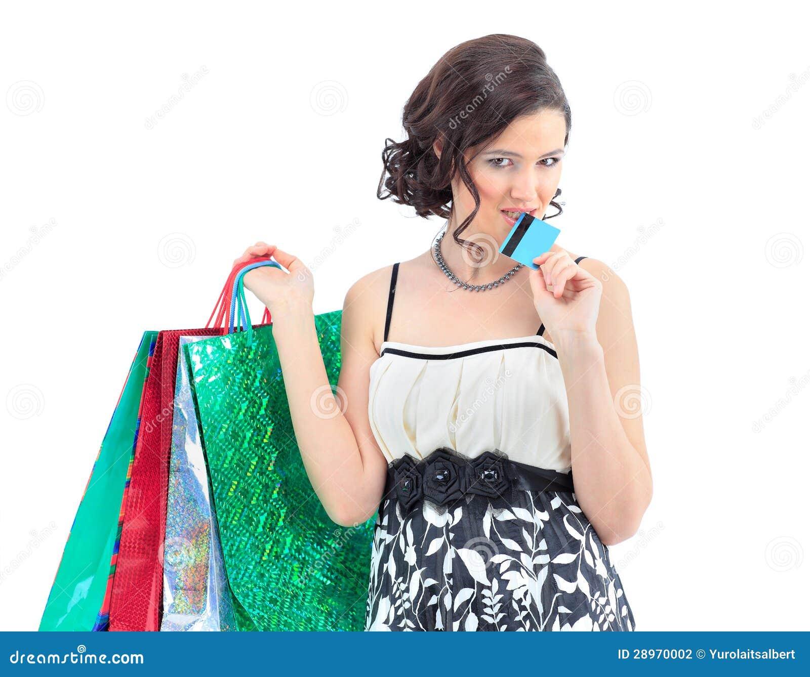 Kobieta szczęśliwego wp8lywy kredytowa karta