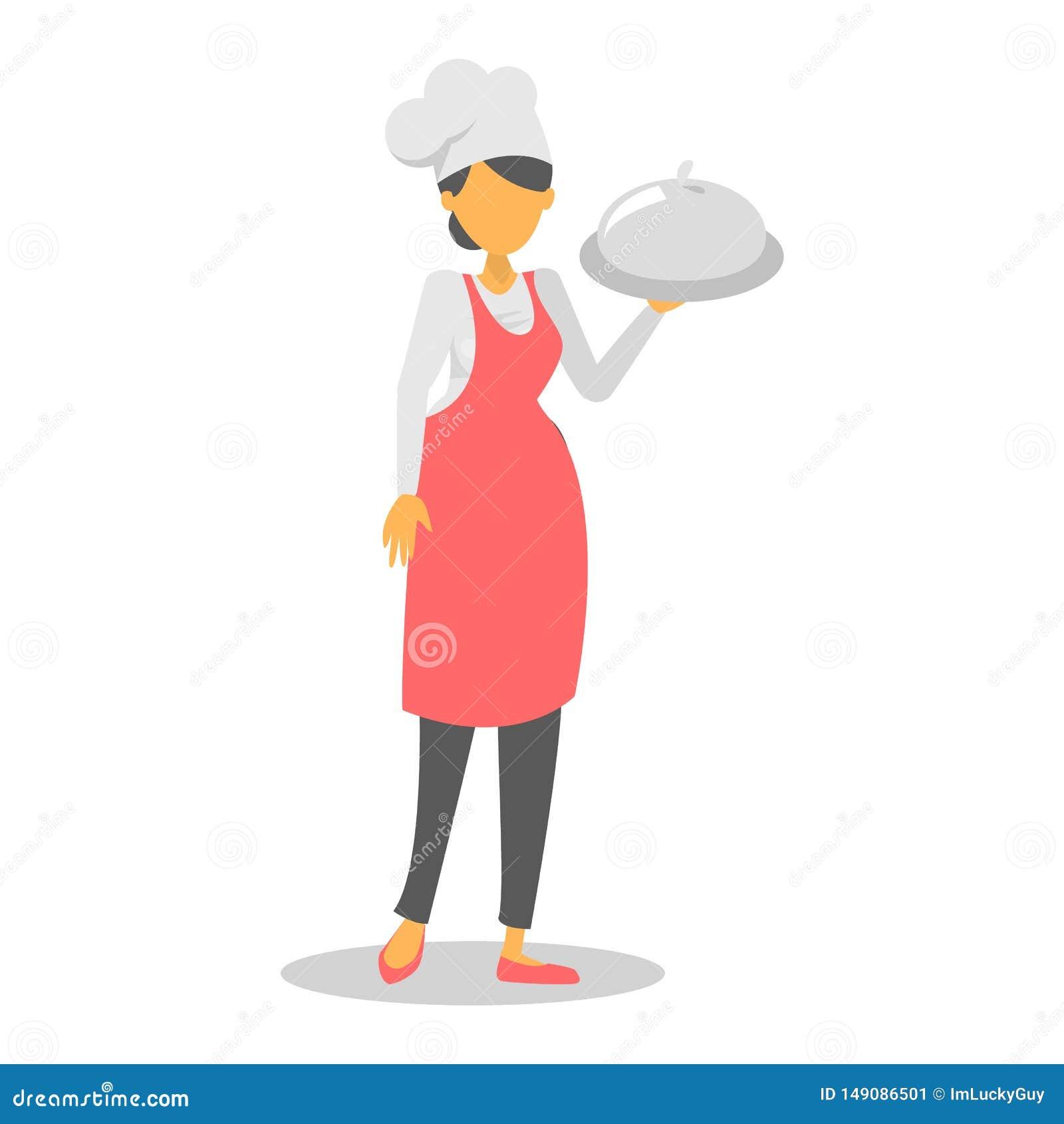 Kobieta szef kuchni w czerwonym fartucha mienia naczyniu
