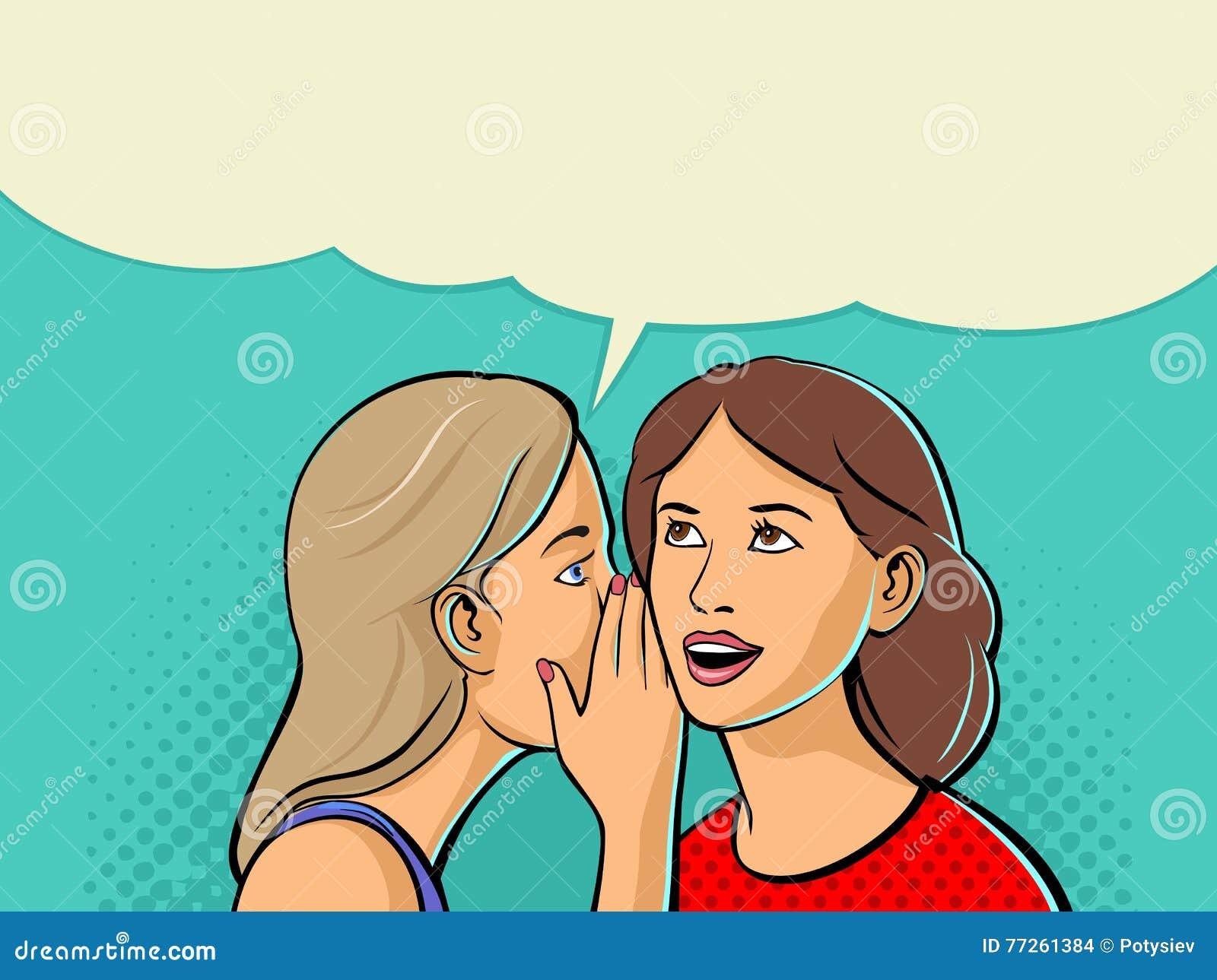 Kobieta szepcze plotki lub sekretu jej przyjaciel Dwa opowiadają przyjaciela