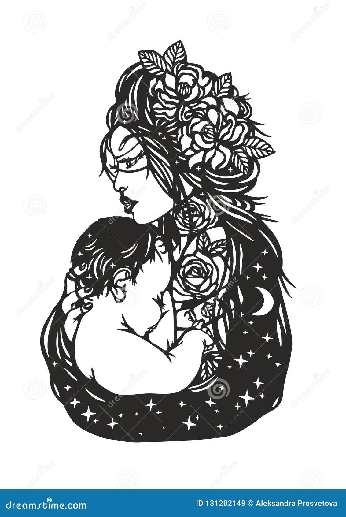 Kobieta trzyma dziecka Ð ¡ lipart dzień kwiat daje mum syna matkom