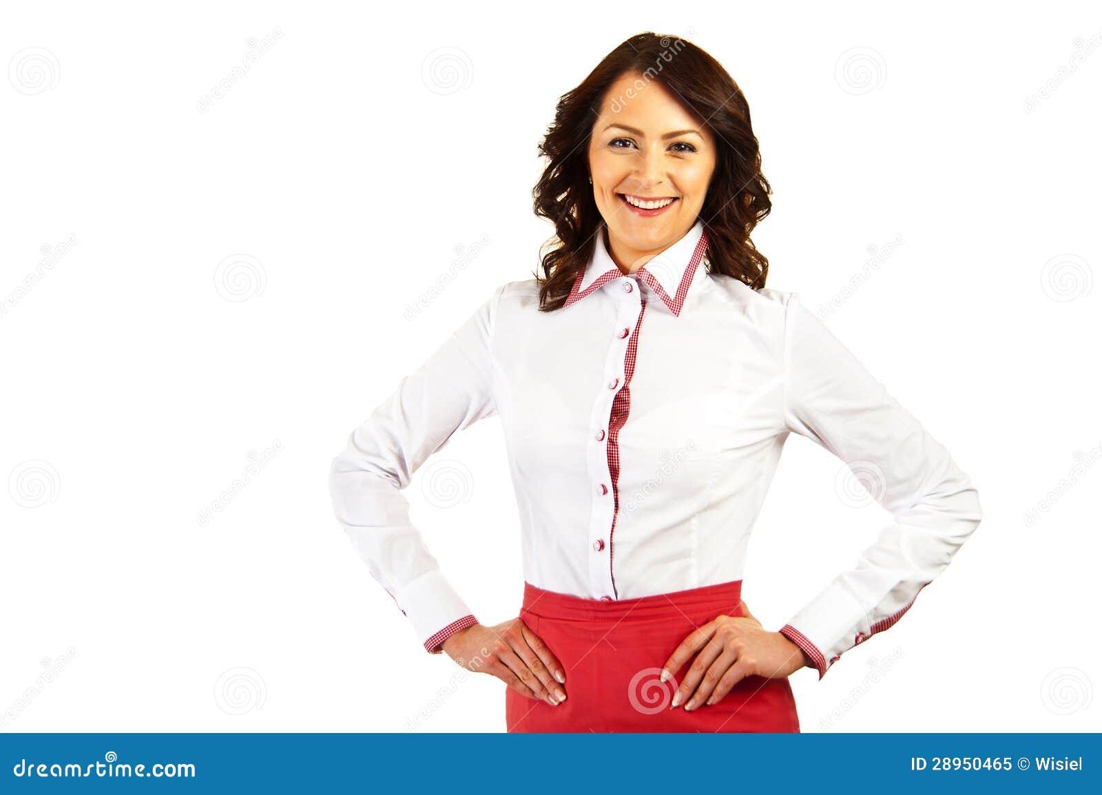 Kobieta w biznes stewardesie na białym tle lub mundurze