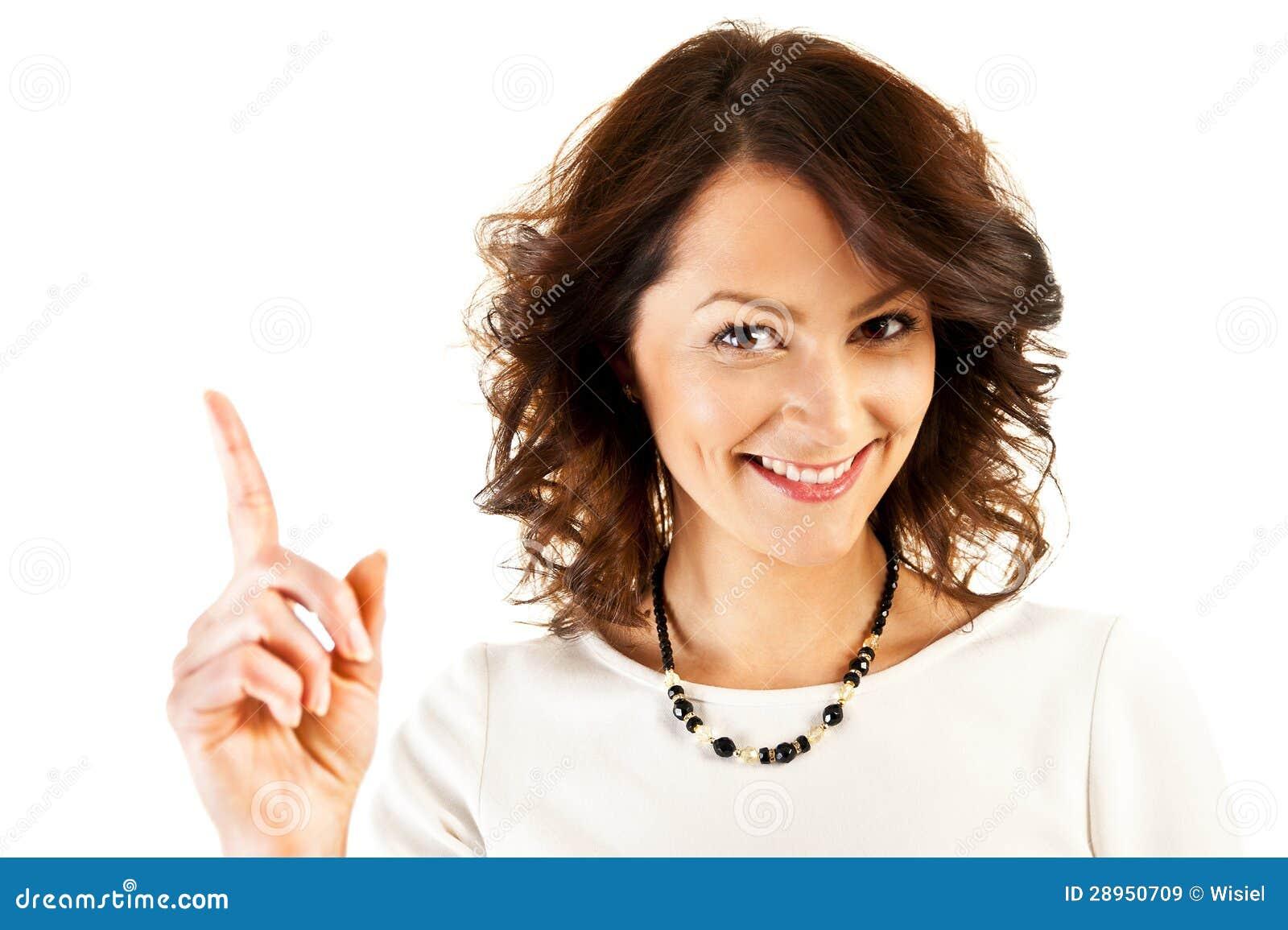Kobieta w biznesu munduru punktu palcu