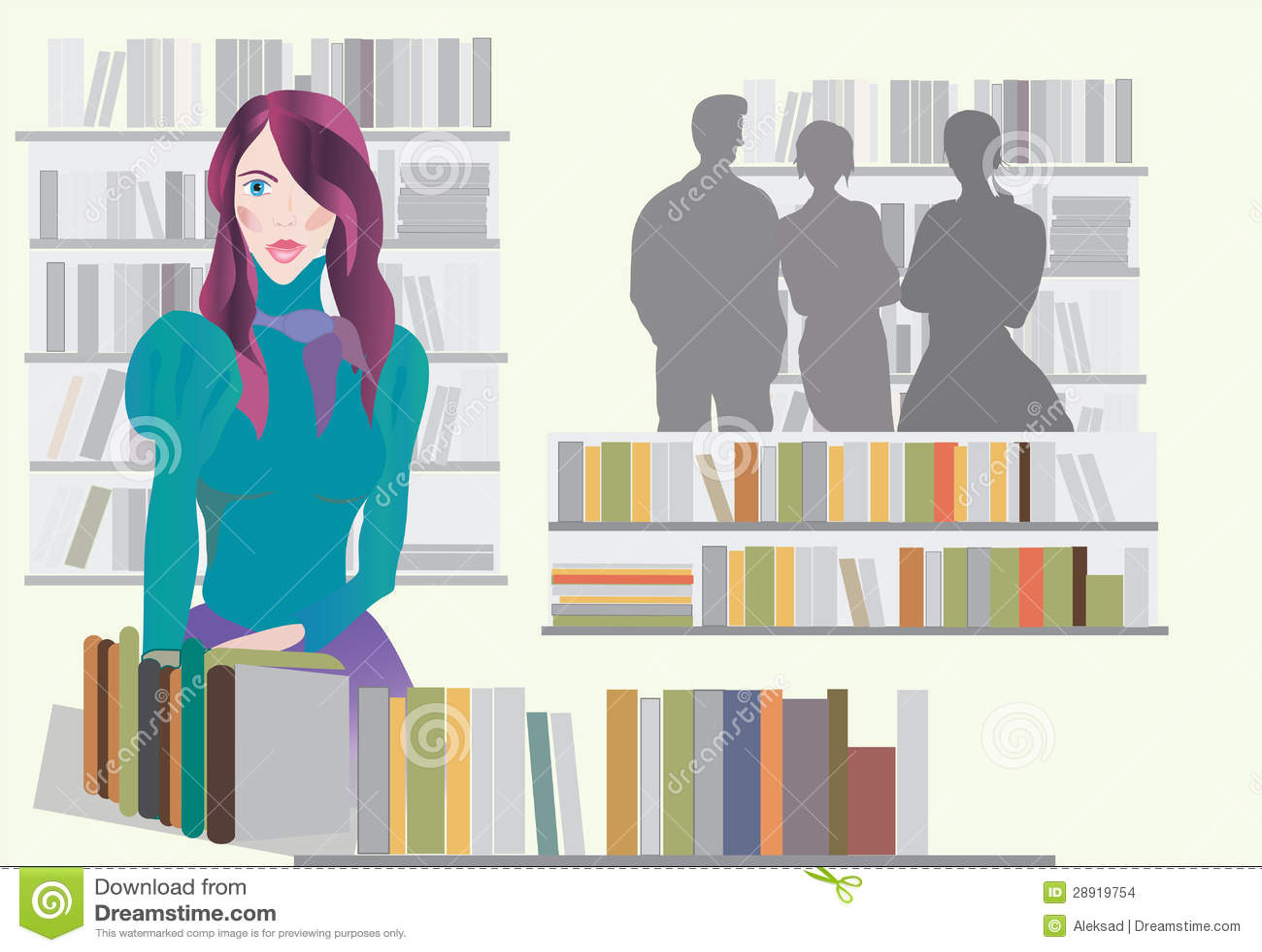 Kobieta w Bookstore