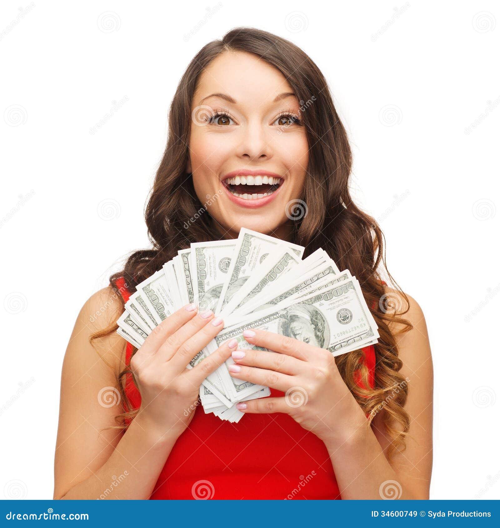 Kobieta w czerwieni sukni z dolara amerykańskiego pieniądze