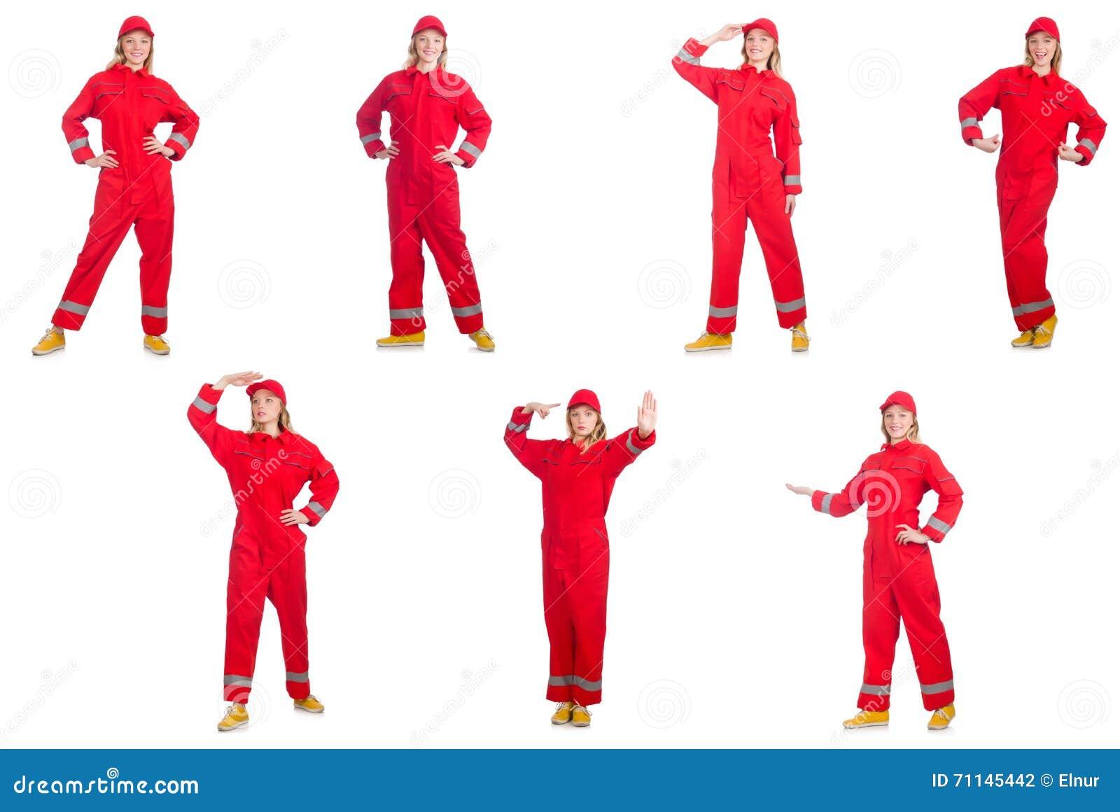 Kobieta w czerwonych kombinezonach