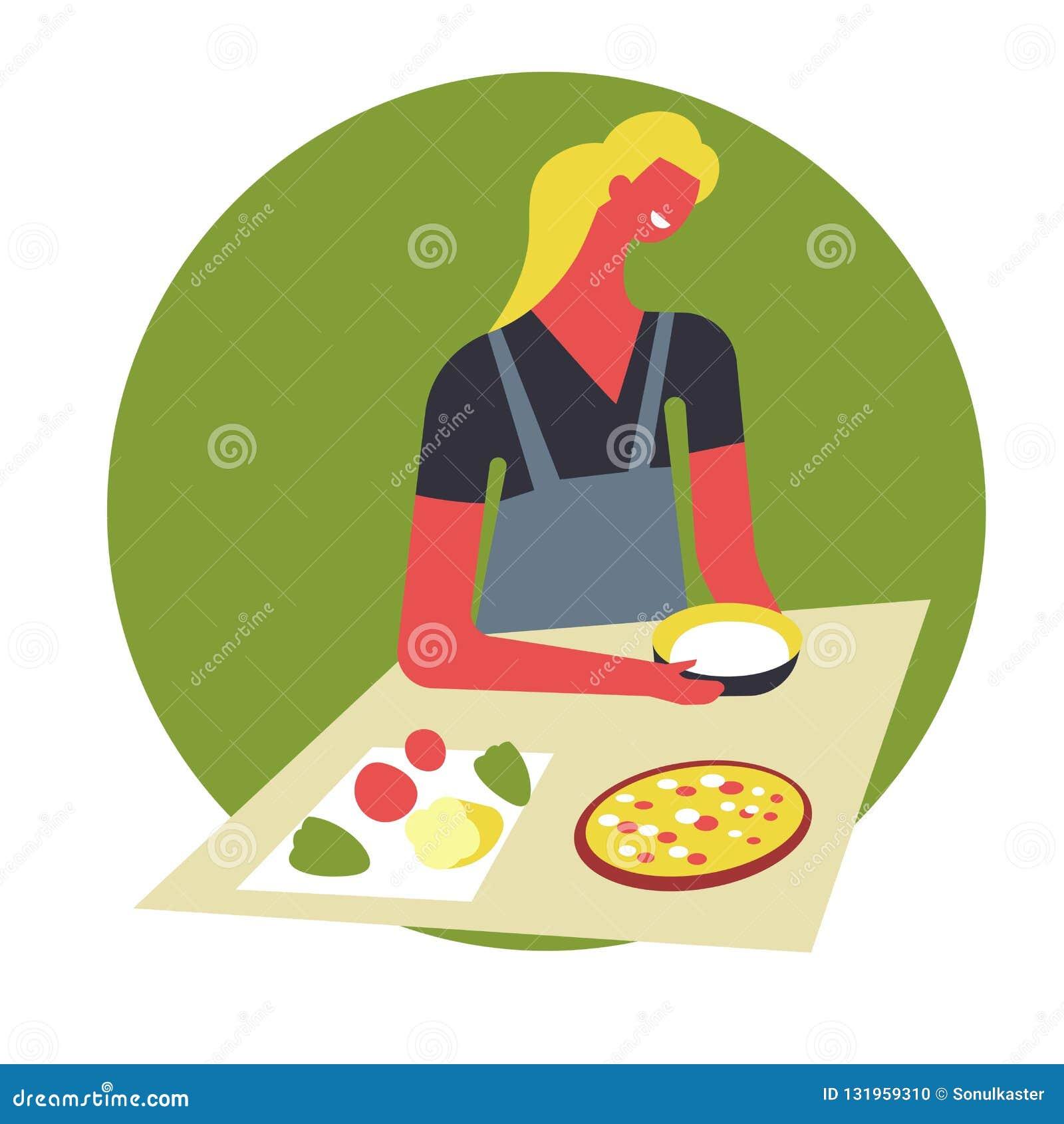 Kobieta w fartuchu gotuje jedzenie i słuzyć w pucharach Żeński charakter przygotowywa naczynia na stole