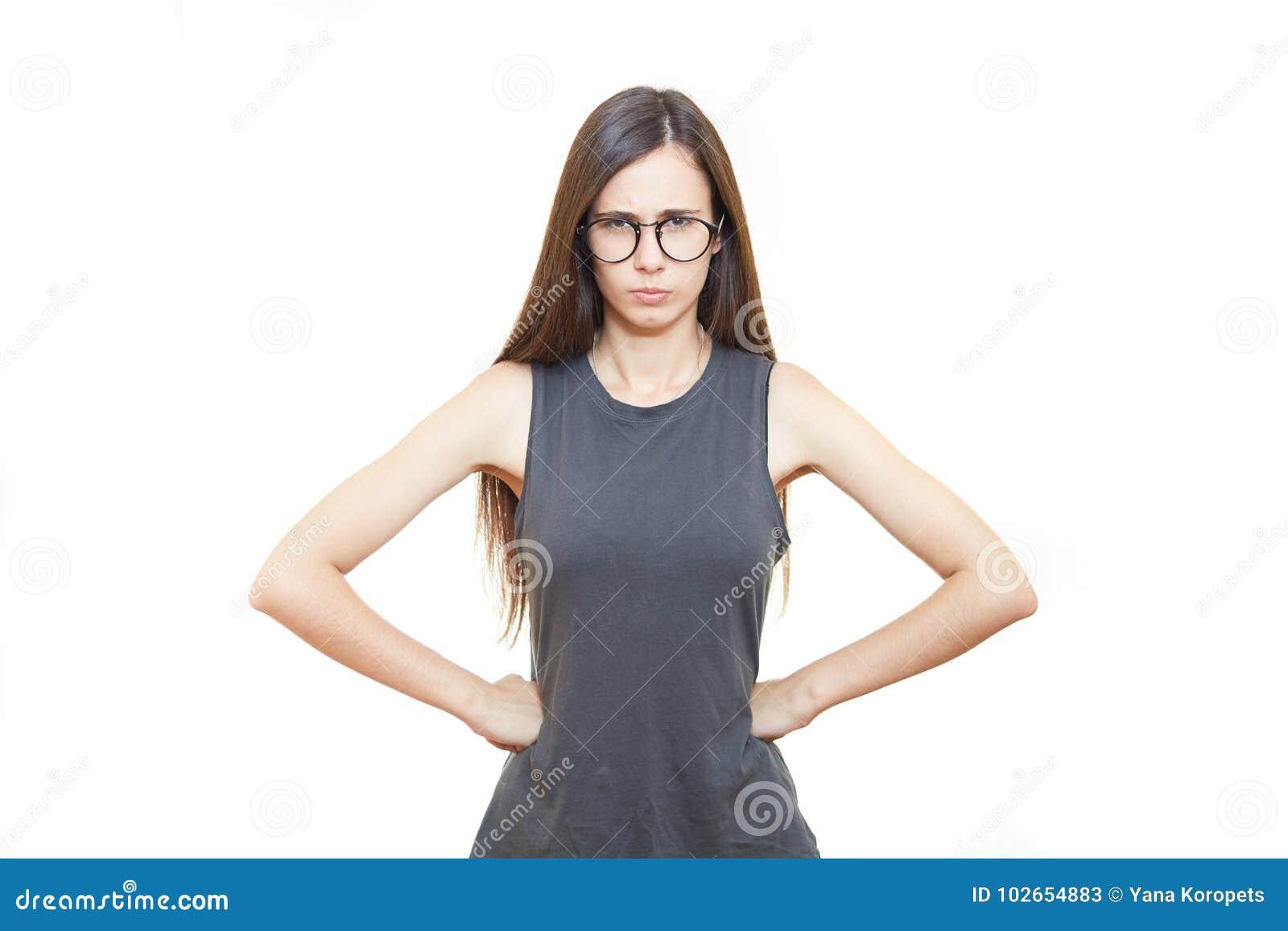 Kobieta w szkła biura emocjach Biały tło