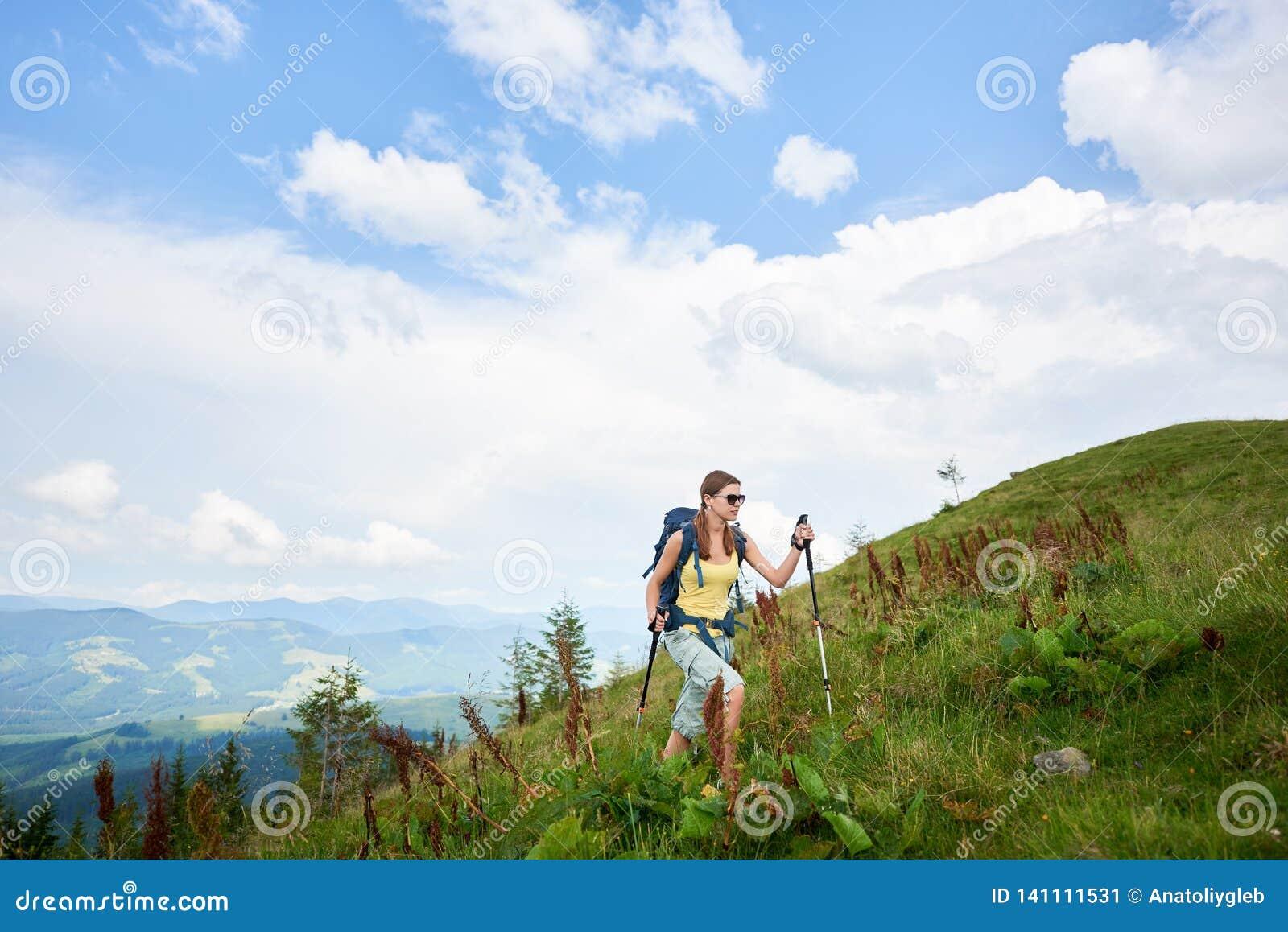 Kobieta wycieczkowicz wycieczkuje na trawiastym wzgórzu, będący ubranym plecaka, używa trekking wtyka w górach