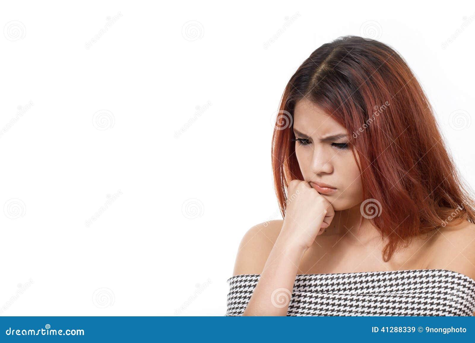 Kobieta wyraża negatywnego uczucie, nuda, zła emocja, kłopot