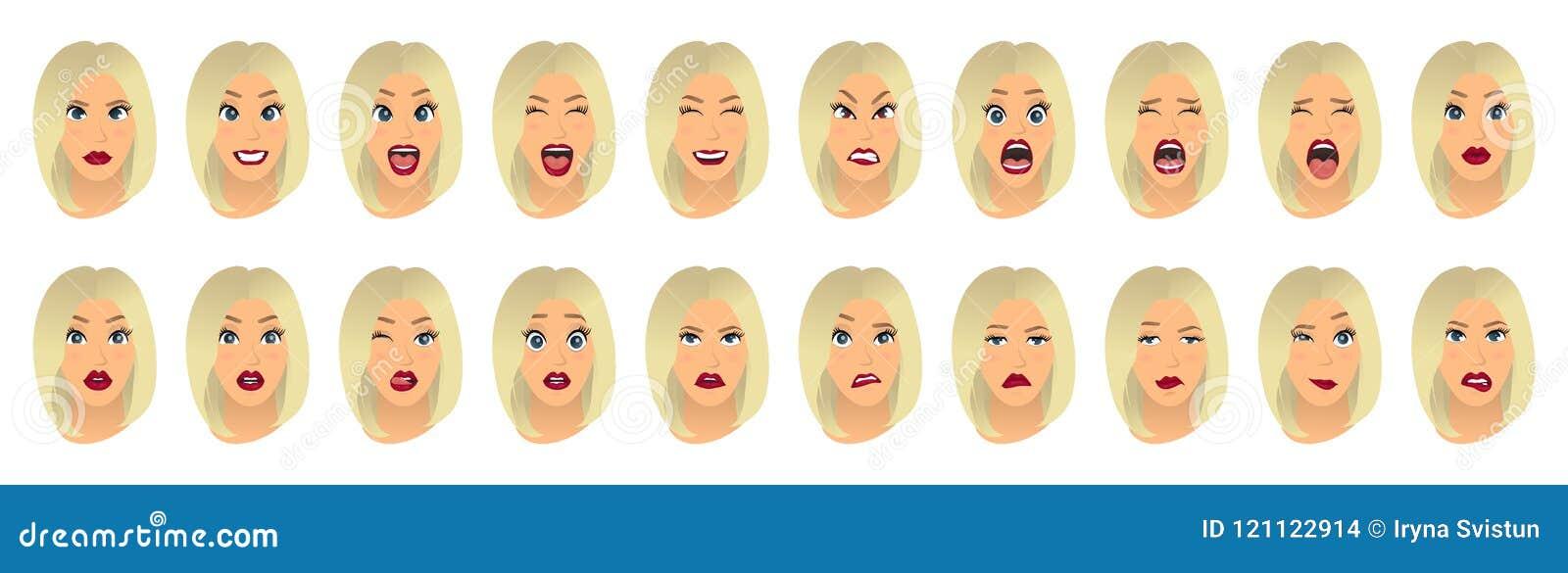 Kobieta wyrazy twarzy, gesty, emoci szczęścia niespodzianki obmierzłości smucenia zachwyta rozczarowania strachu niespodzianki ra