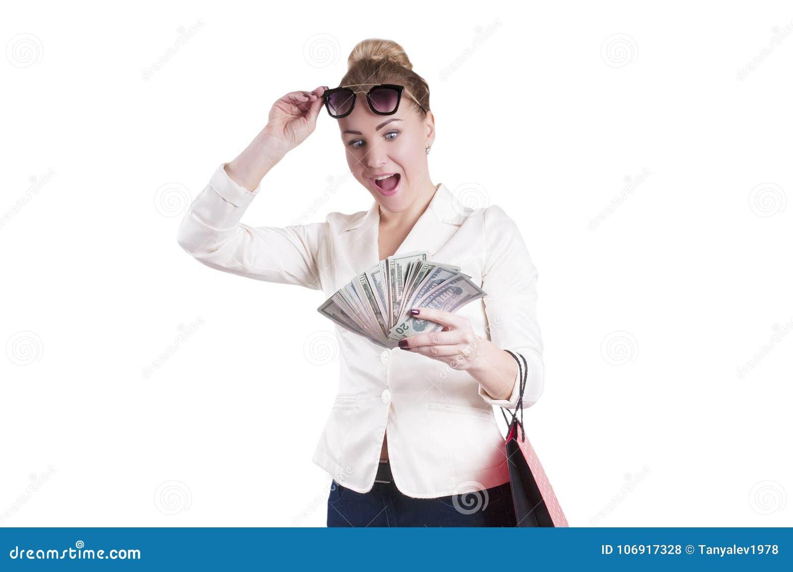 Kobieta z dolarów torba na zakupy, niespodzianka odizolowywająca