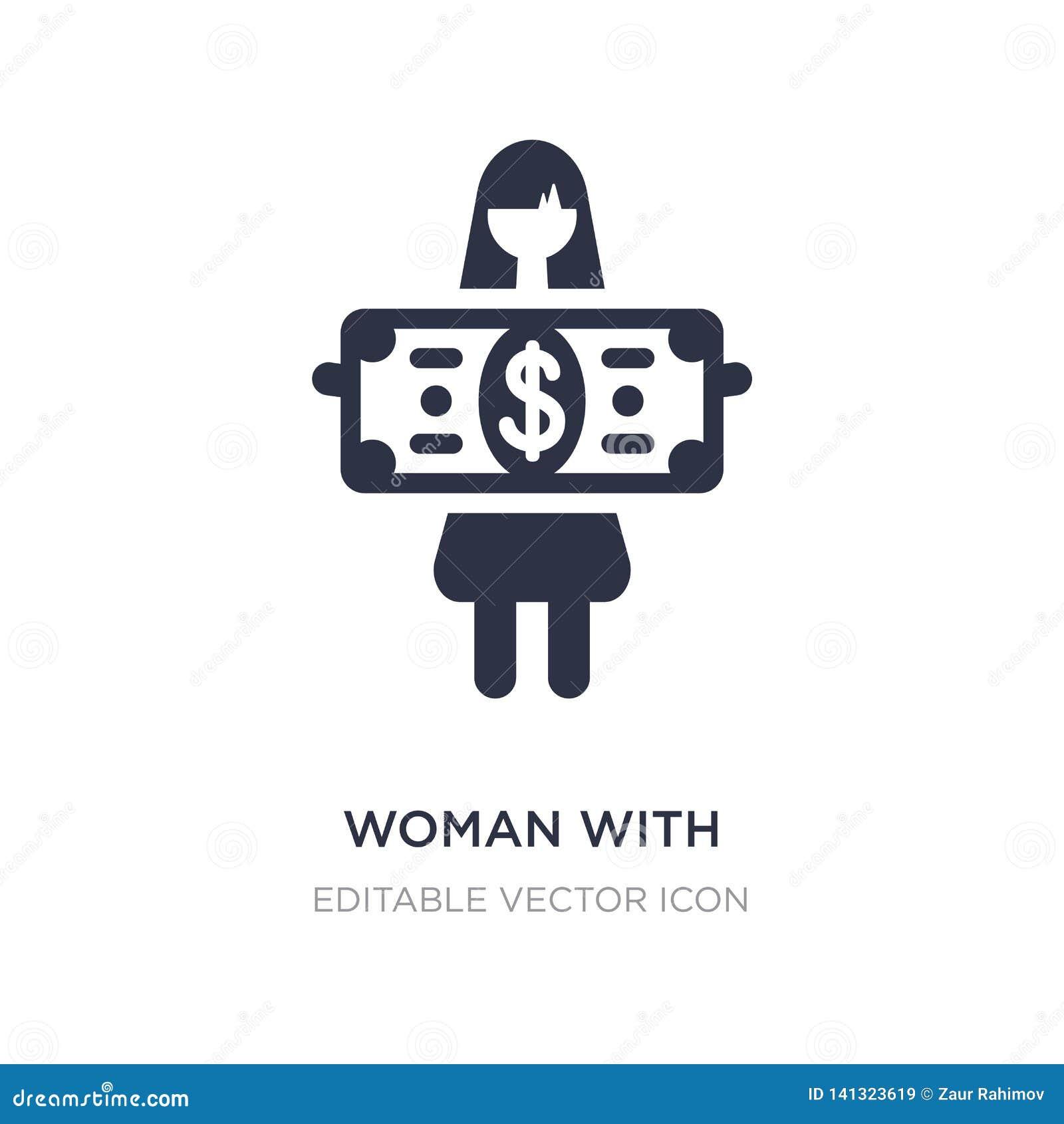 Kobieta z dolarowego rachunku ikoną na białym tle Prosta element ilustracja od Biznesowego pojęcia