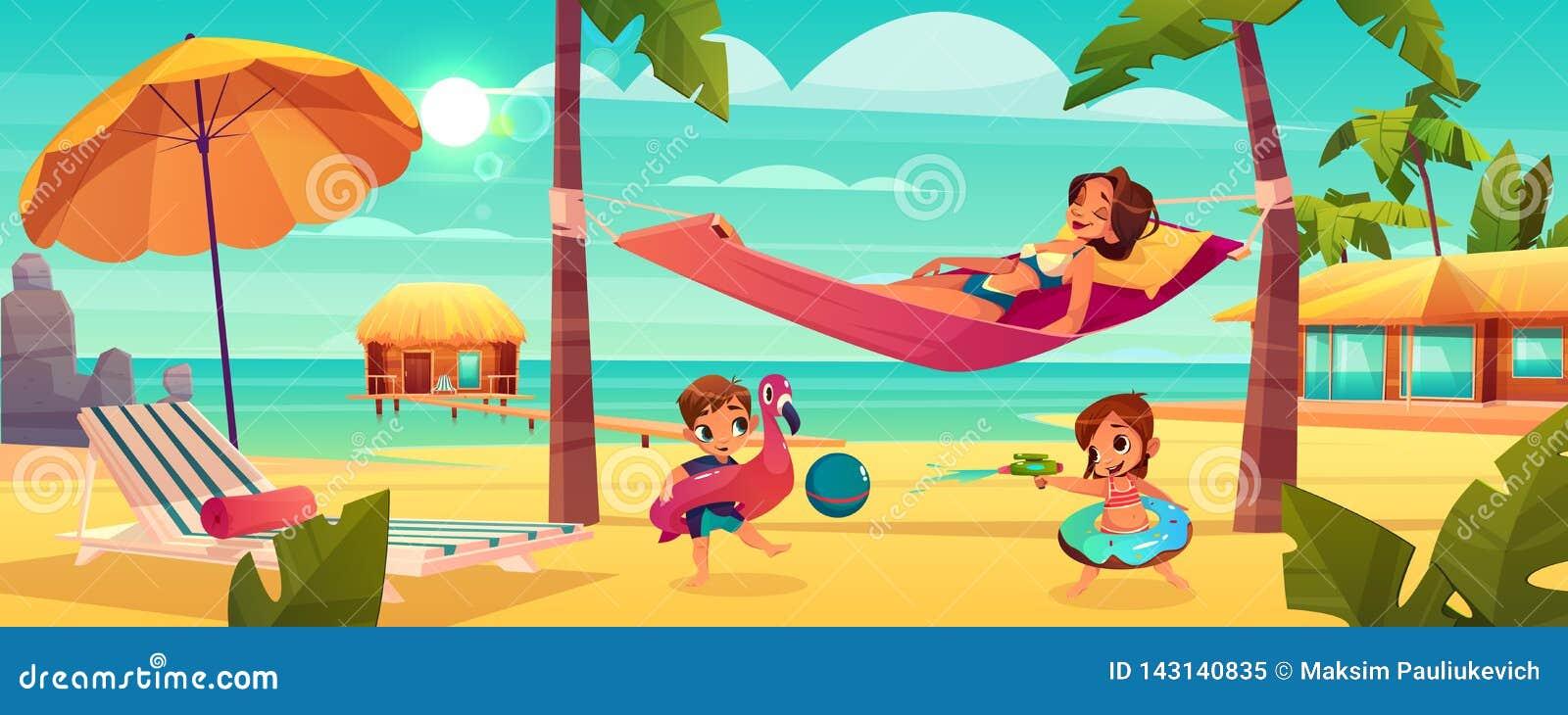 Kobieta z dzieciakami odpoczywa na plażowym wektorze