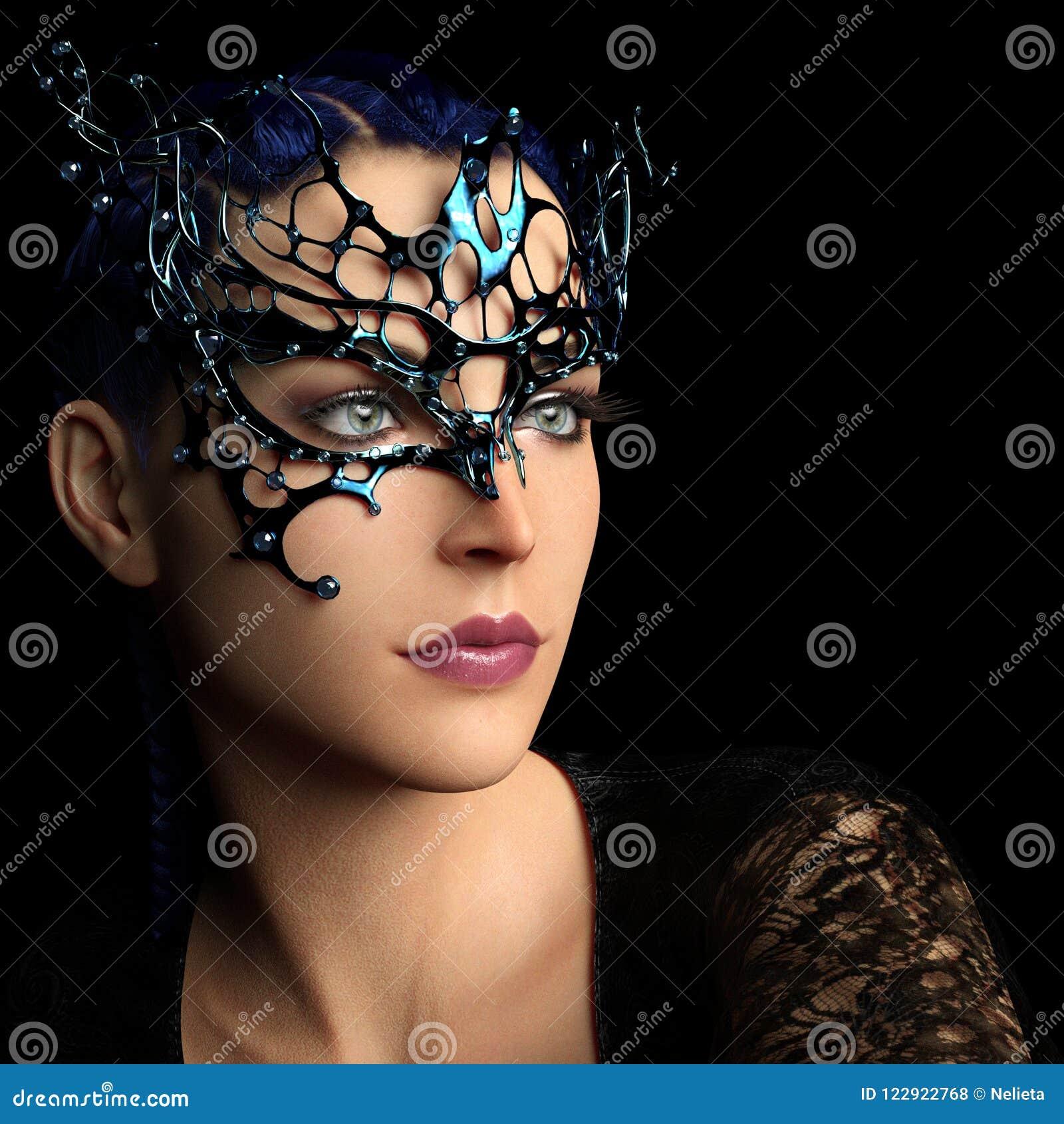 Kobieta z fantazi maską