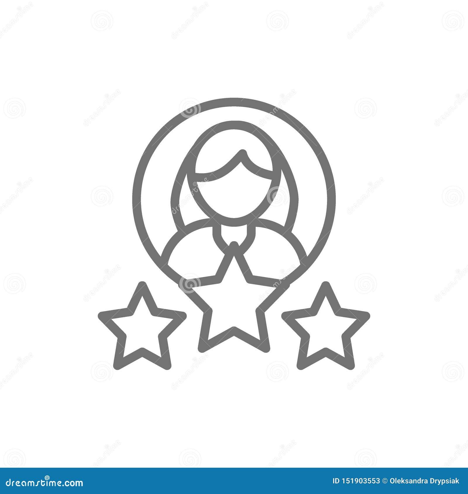 Kobieta z gwiazdami, klient oceny, żeńska ilości linii ikona