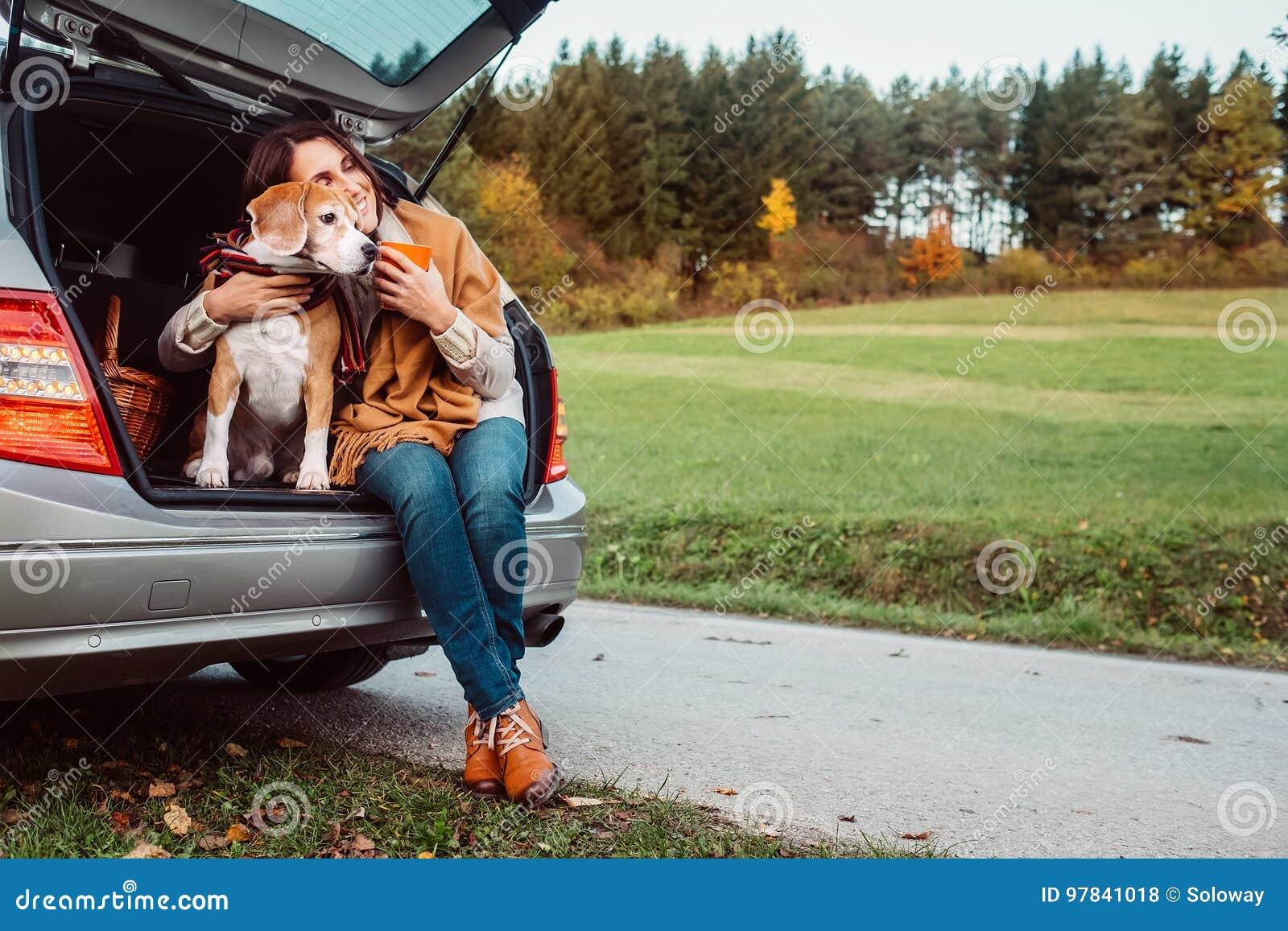 Kobieta z jej psem herbacianego czas podczas ich jesieni auto podróży