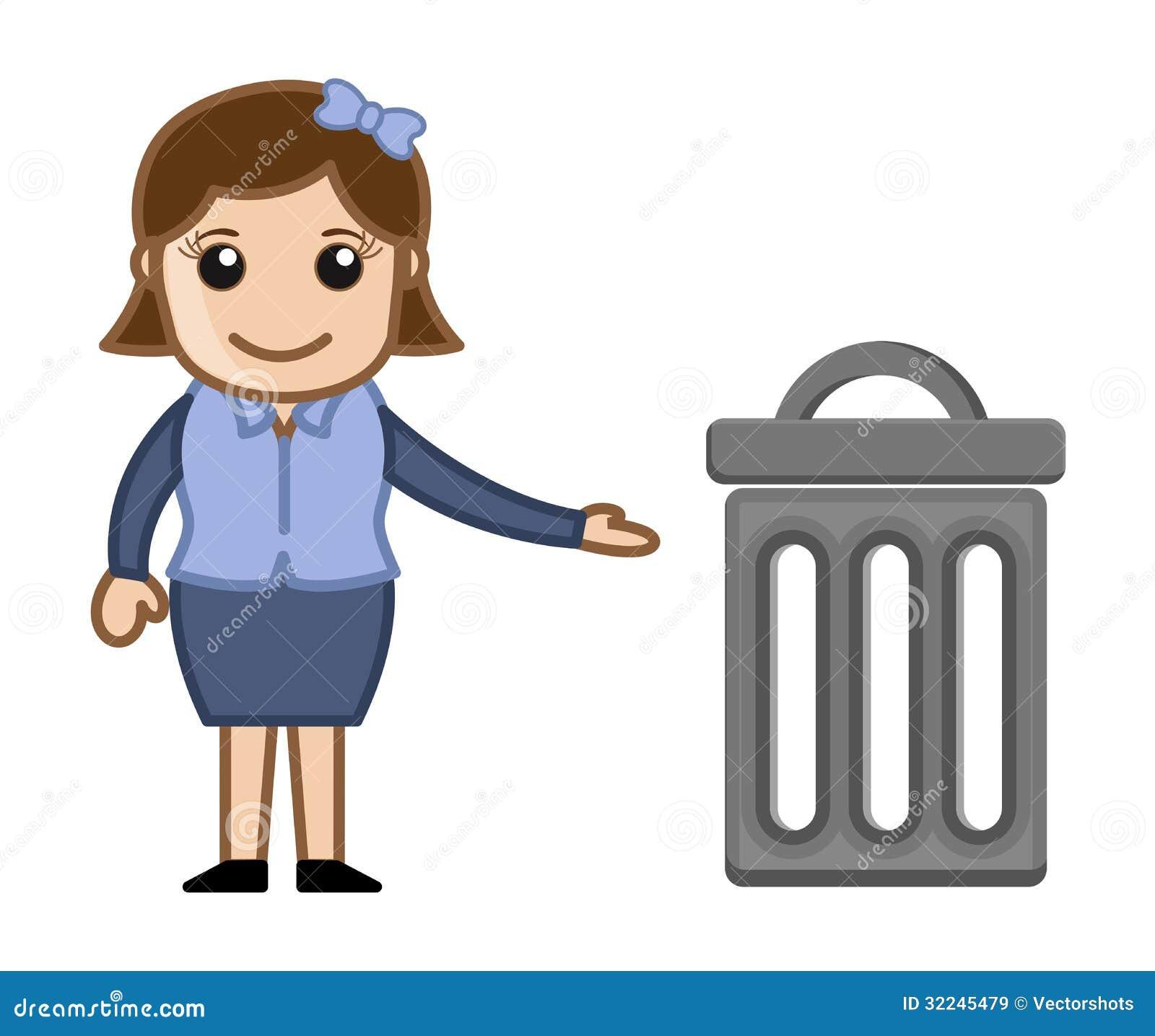 Kobieta Z kosz na śmieci