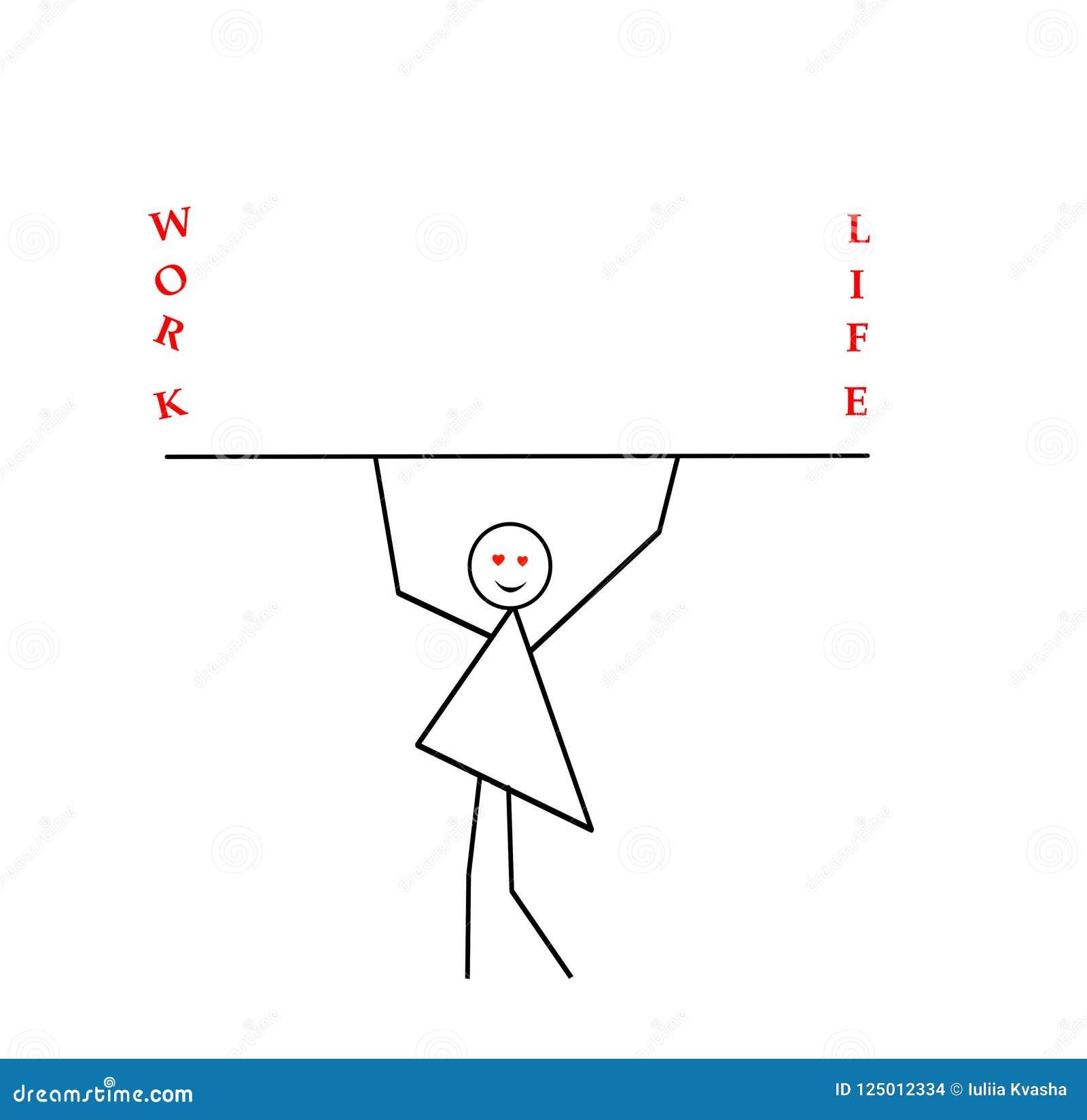 Kobieta z rękami podnosić niesie kij, bar, wpisowa praca i życie, praforma wzór w czarnym ołówku na a
