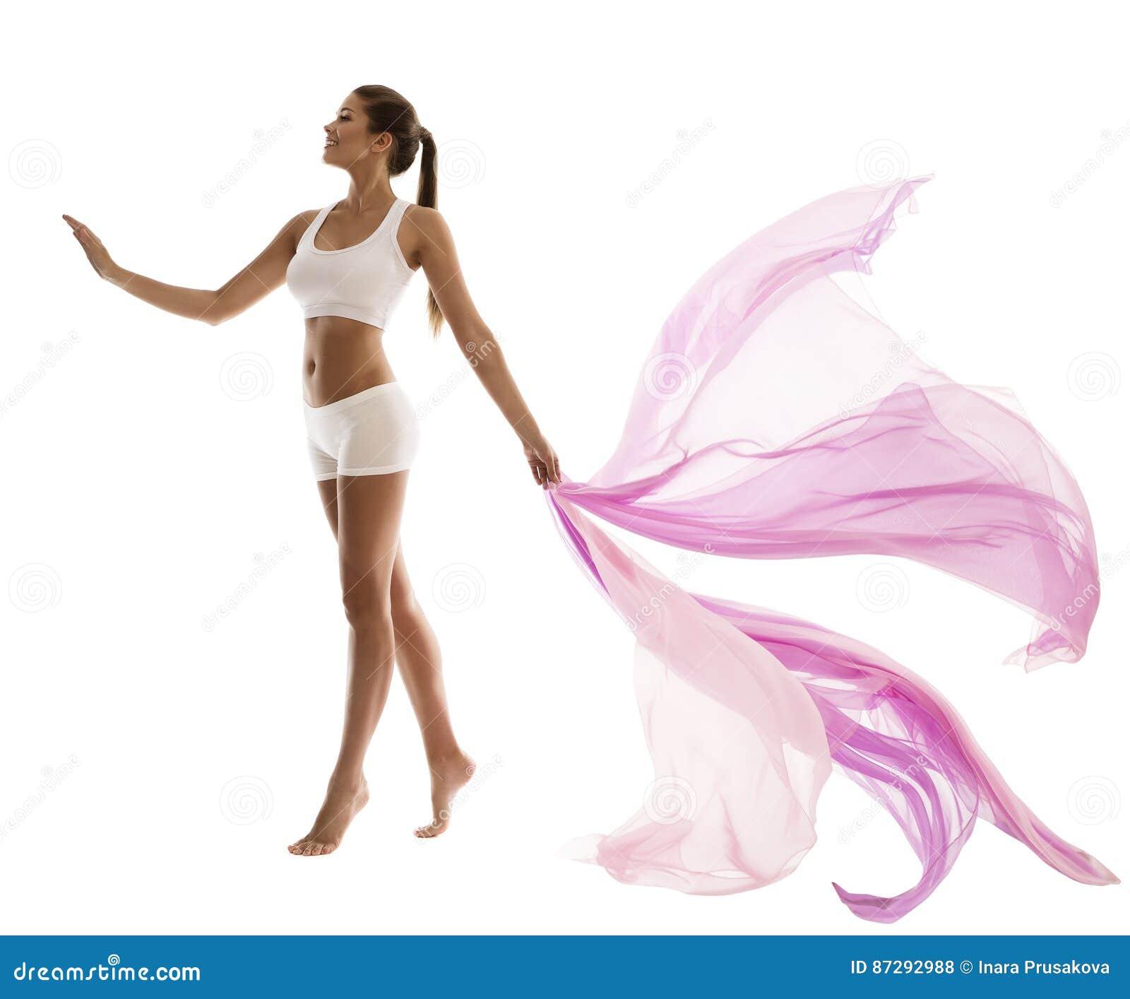 Kobiety ciała piękno w sport Białej bieliźnie z falowanie tkaniną