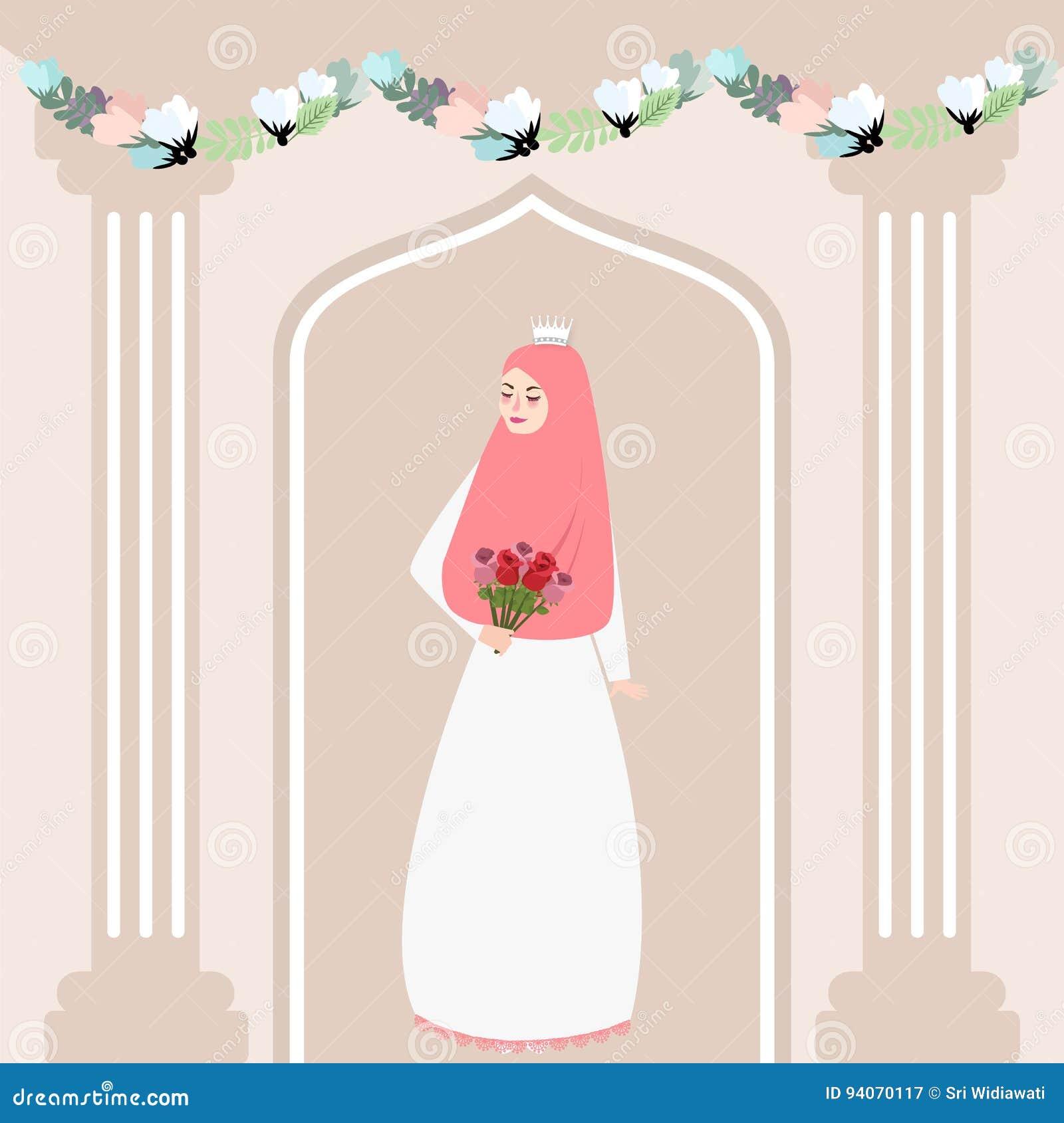 Kobiety dziewczyny panny młodej mienia muzułmański kwiat jest ubranym przesłona islamu tradycję