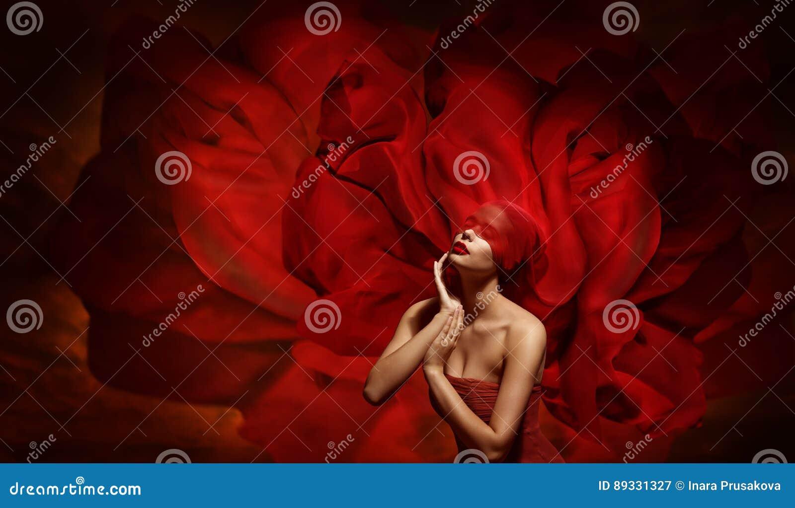 Kobiety fantazja, moda model z Czerwonej opaski Jedwabniczą tkaniną Touc