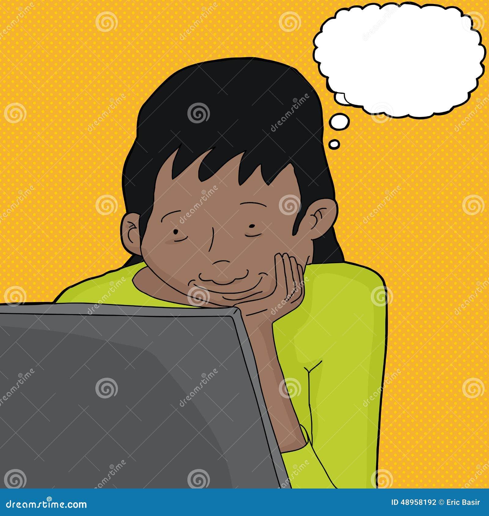 Kobiety główkowanie i Patrzeć laptop