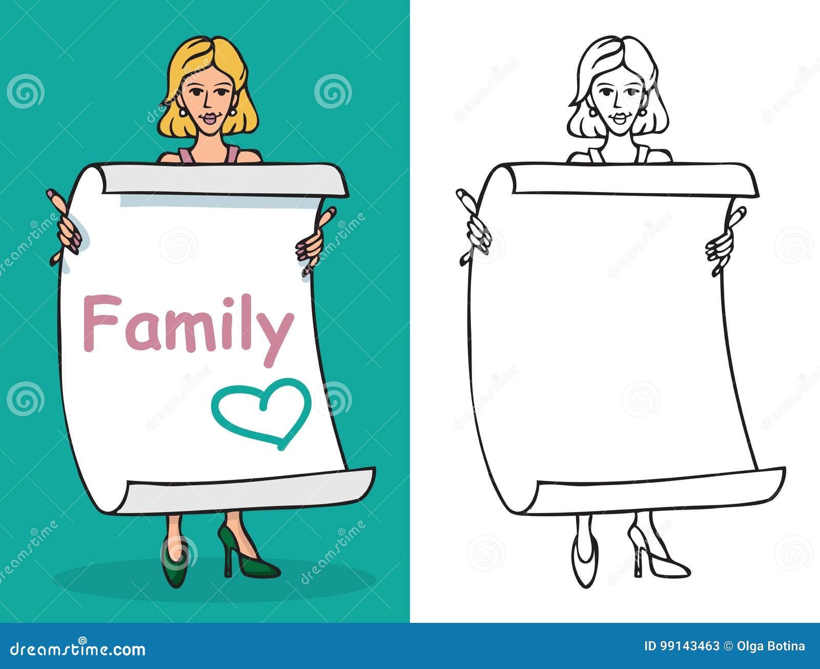 Kobiety i prześcieradła papier z wpisową rodziną