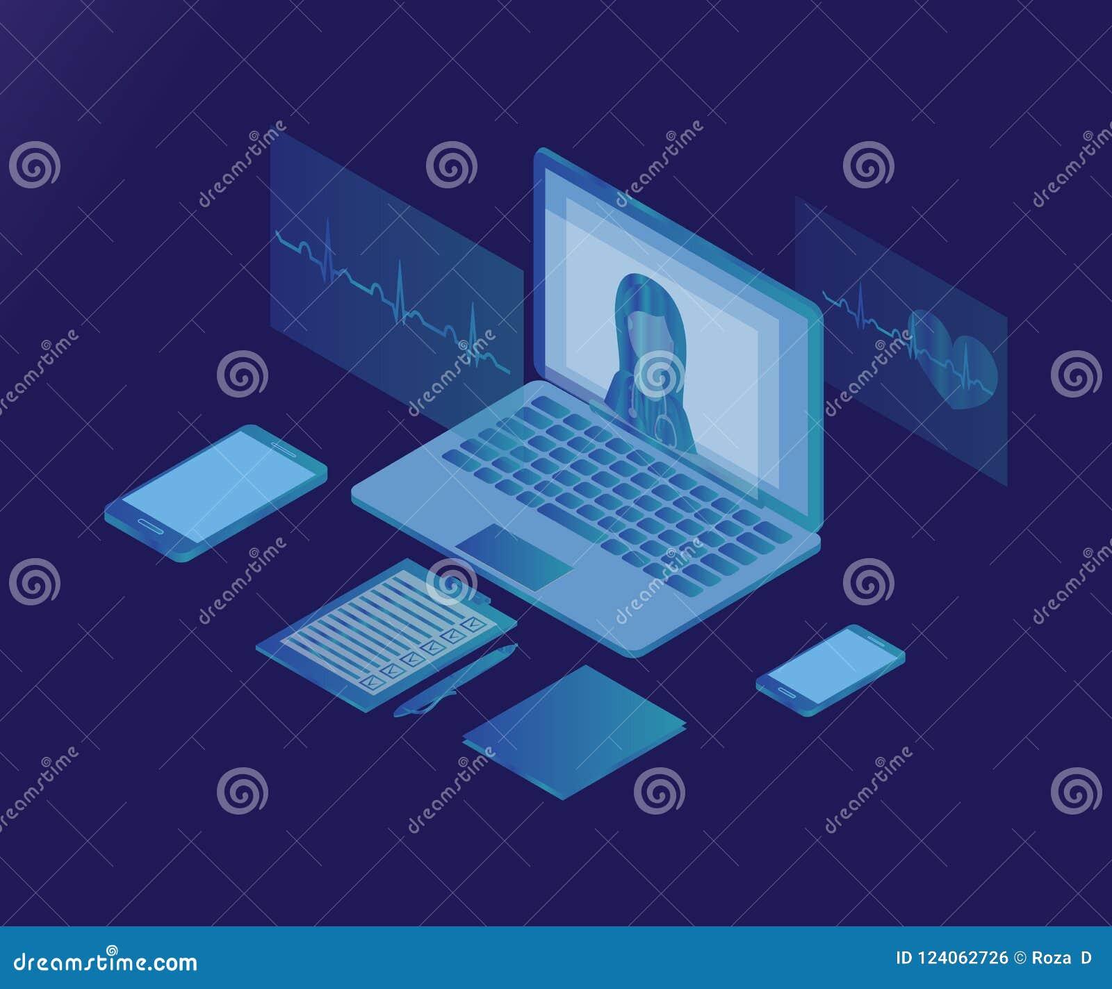 Kobiety lekarka, laptop, 3d 2 isometric lód