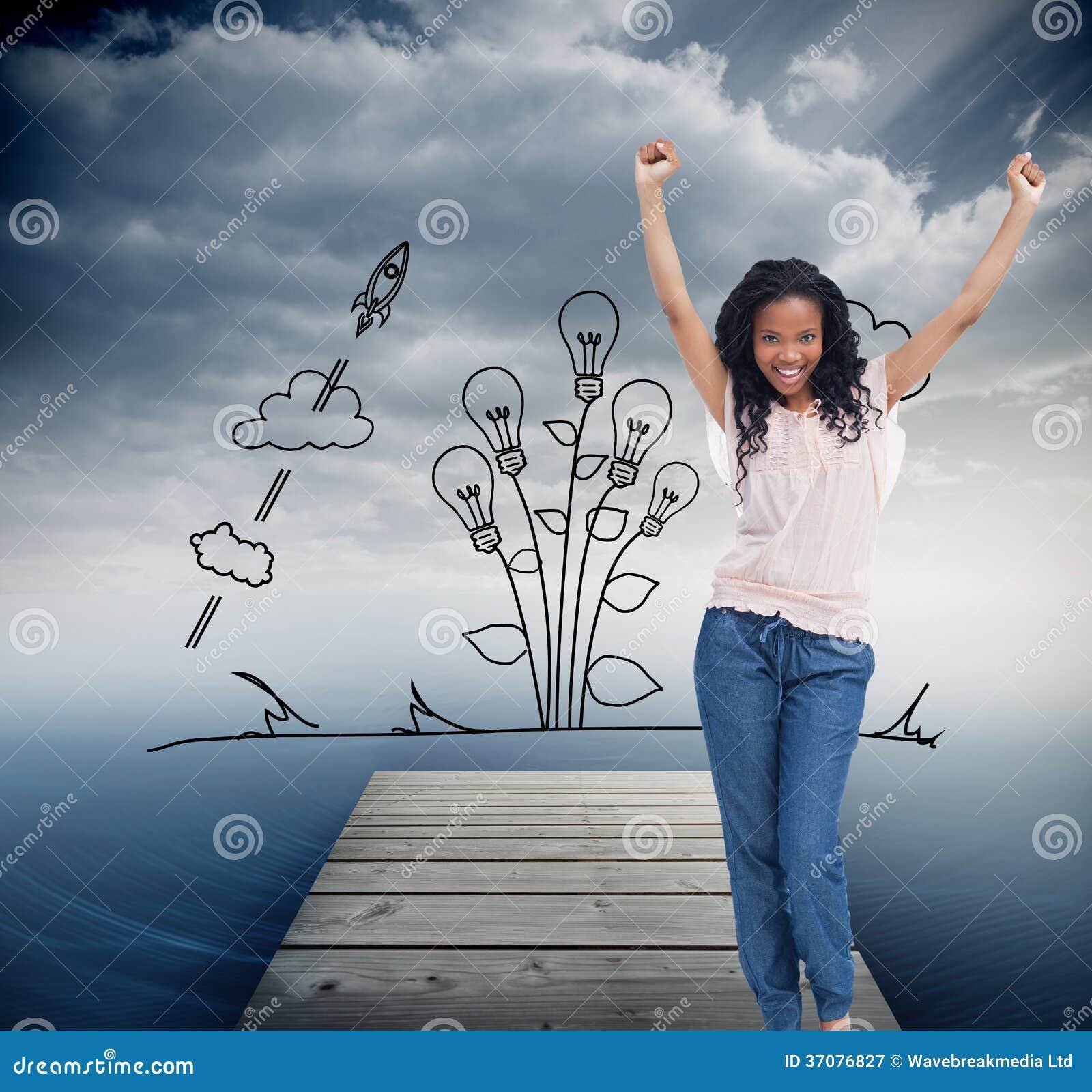 Download Kobiety Młodzi Szczęśliwi Stojaki Z Jej Rękami W Powietrzu Ilustracji - Ilustracja złożonej z most, chmury: 37076827