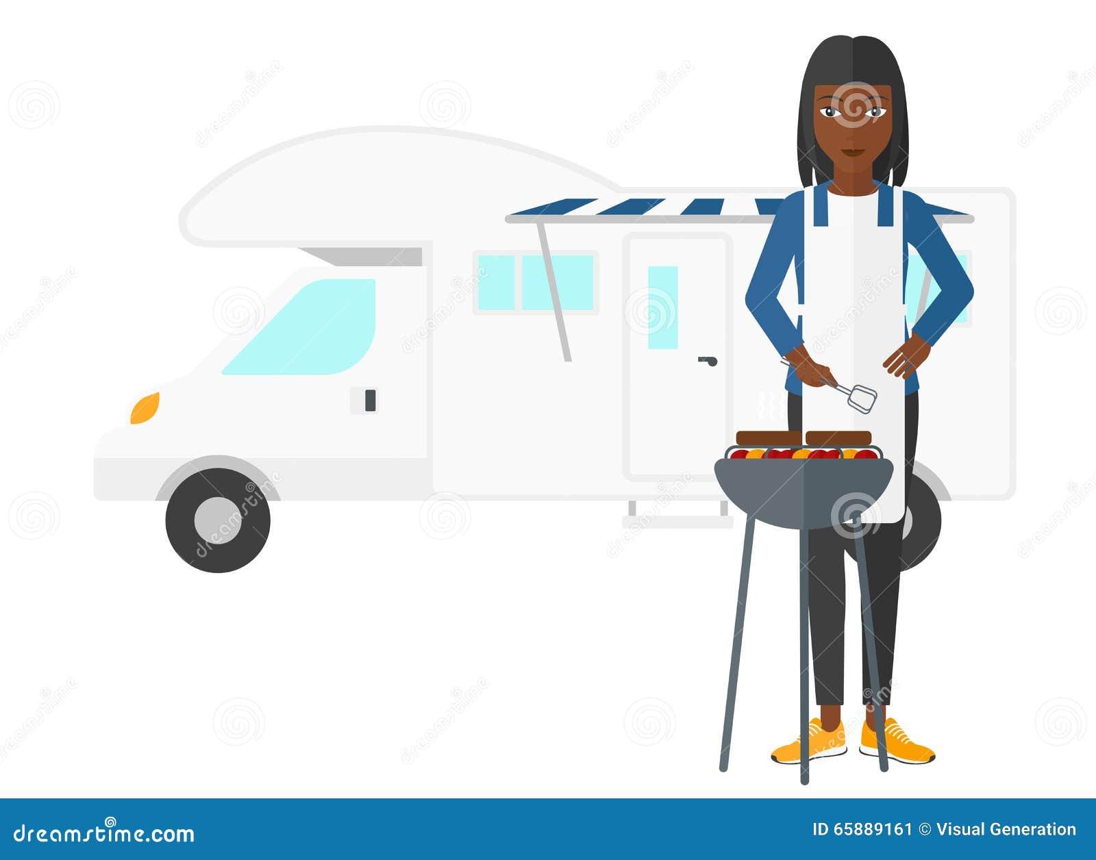 Kobiety narządzania grill