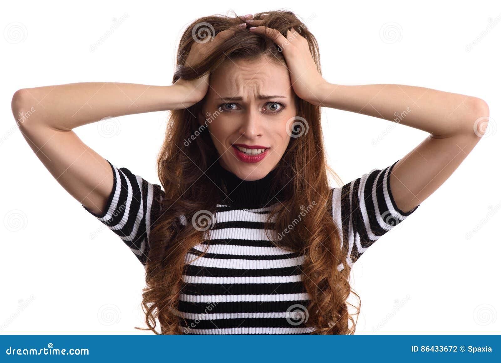 Kobiety niespodzianki chwytów głowa ręką